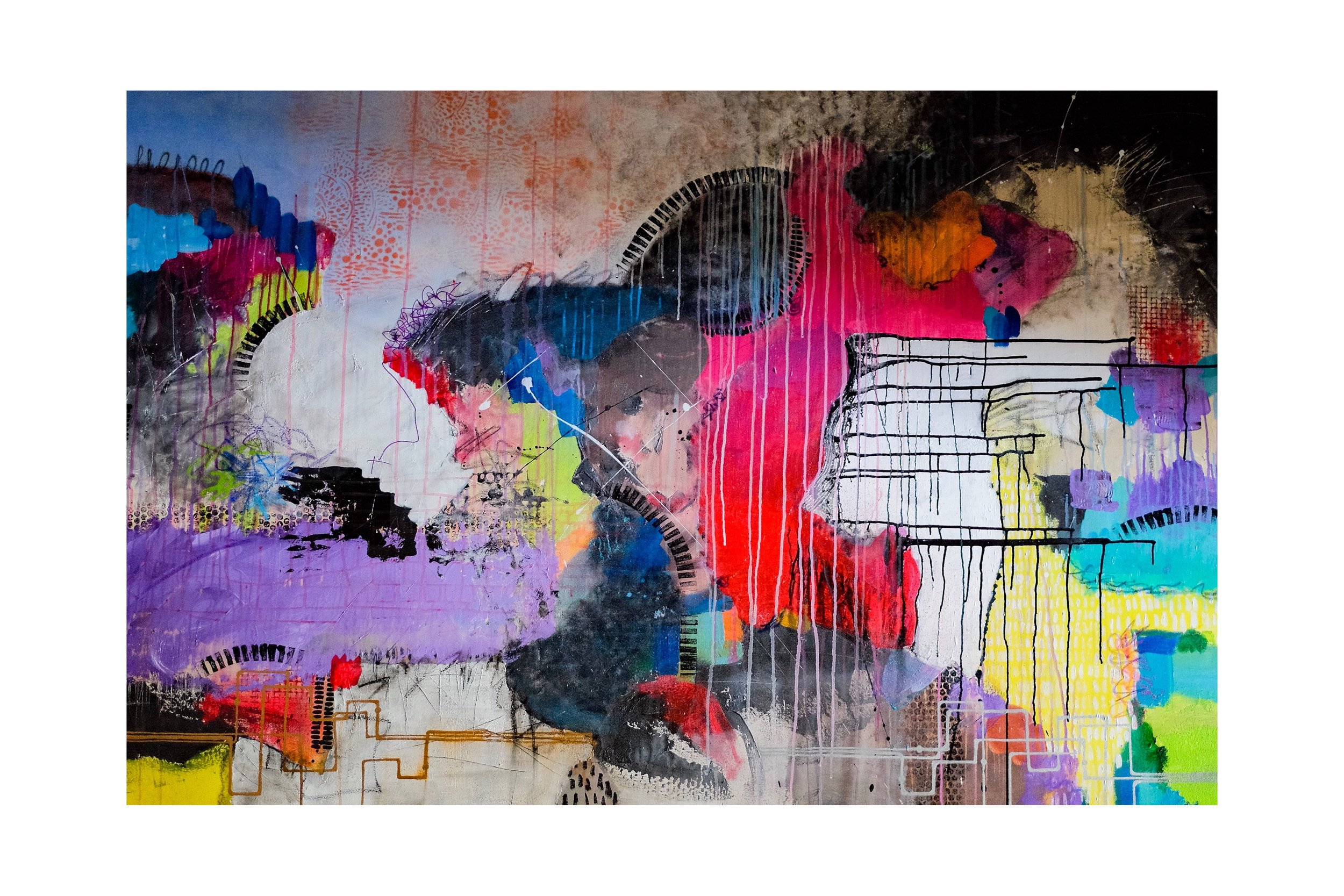 "48""x72"" mixed media on canvas - acrylic and oil pastel"