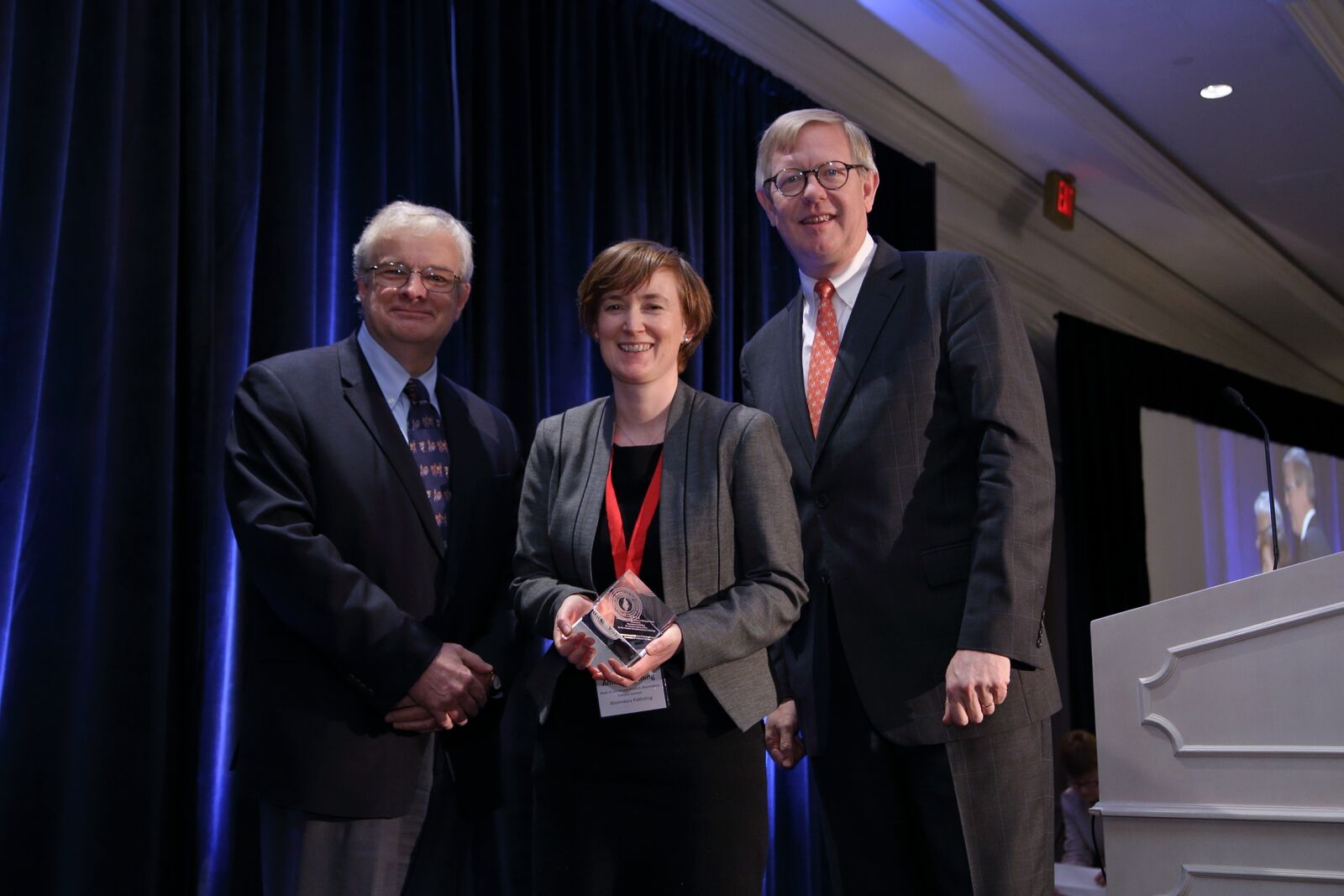 Bloomsbury Content Services Client Director Anna Fleming receiving the R.R. Hawkins Award