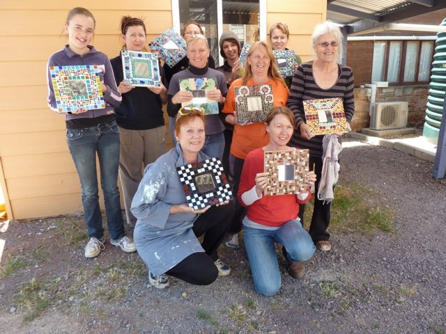 A group of women from Melrose organised their own workshop, presenting their first mosaics.