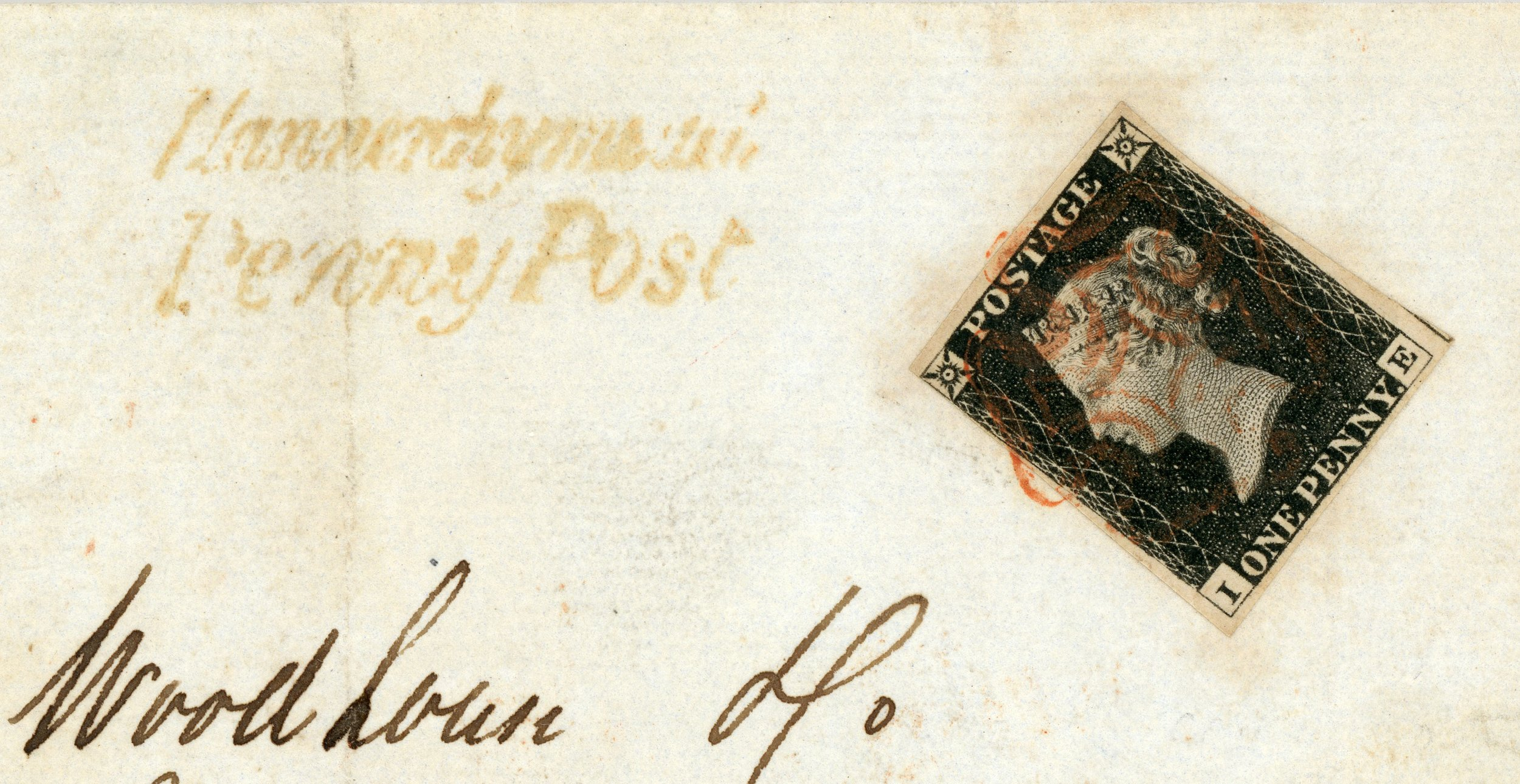 Entire from Llanerchymedd, via Bangor to Liverpool, bearing a 1d black pl 3 cancelled by a red Maltese Cross, and a  Llannerchymedd Penny Post  handstamp in red. Backstamped BANGOR darc-cds in red (code D),  dated AU 27 1840.