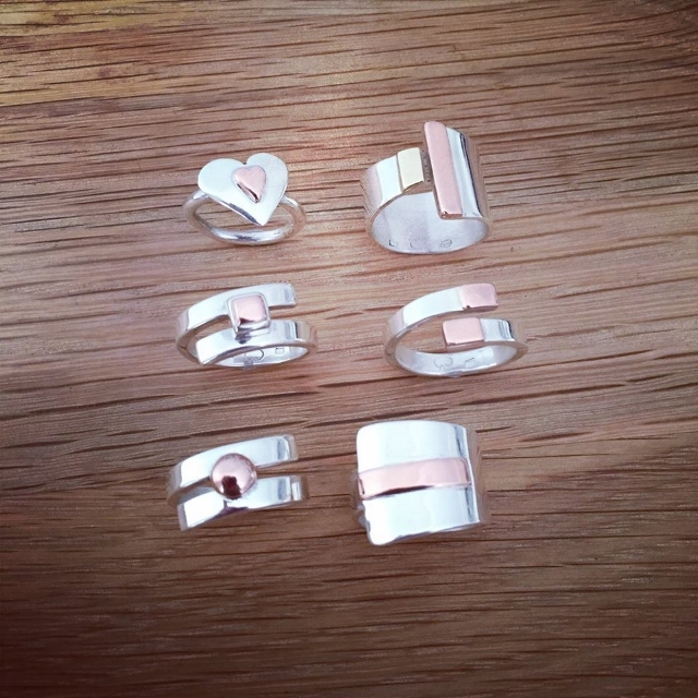9ct Rose Gold and Sterling Silver Rings. Rings range from $160 to $210 each.