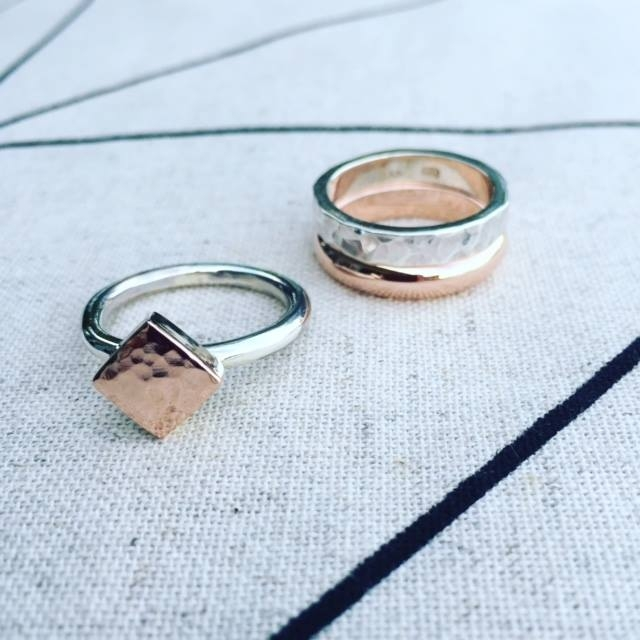 9ct Rose Gold and Sterling Silver Rings. Diamond shaped ring $200. Ring set $440.