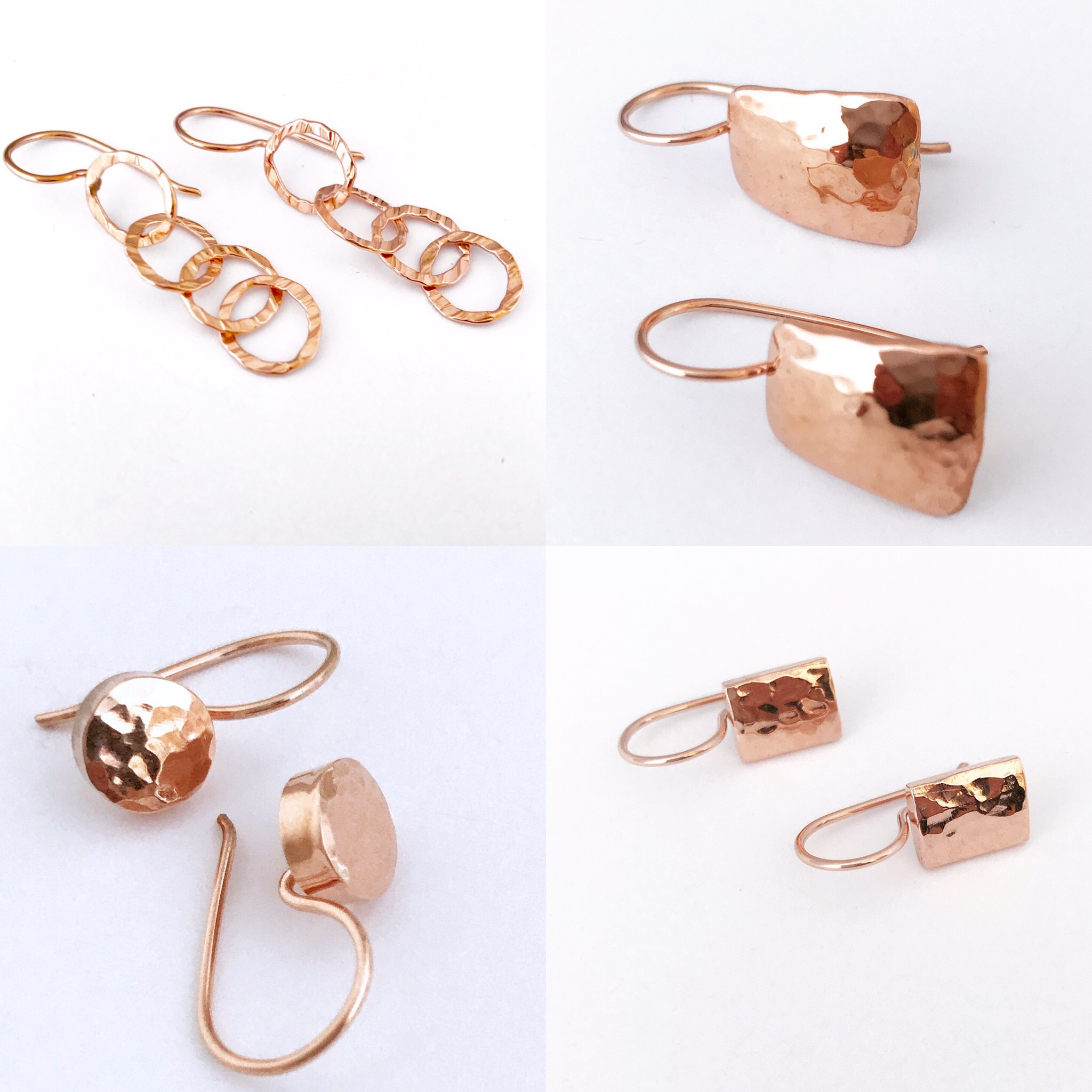 Handcrafted Rose Gold hammered earrings. Earrings range from $90 to $100.