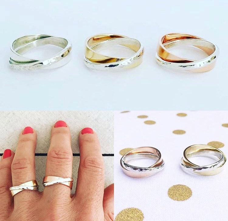 Cross Over Band Rings. Sterling Silver $125. 9ct Gold and Sterlng Silver versions $310.