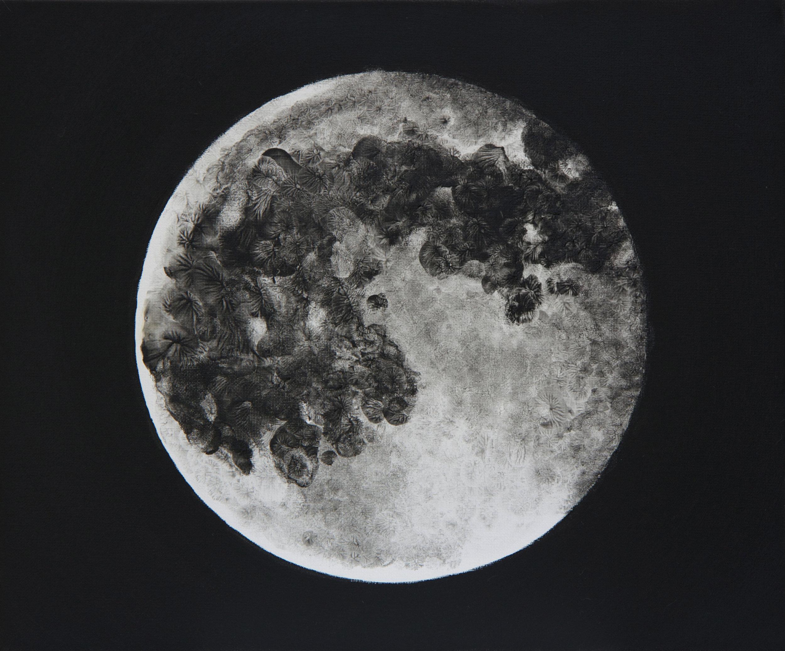 Touching the Moon III,  oil on canvas, fingerprints,  30x25  cm, 2015
