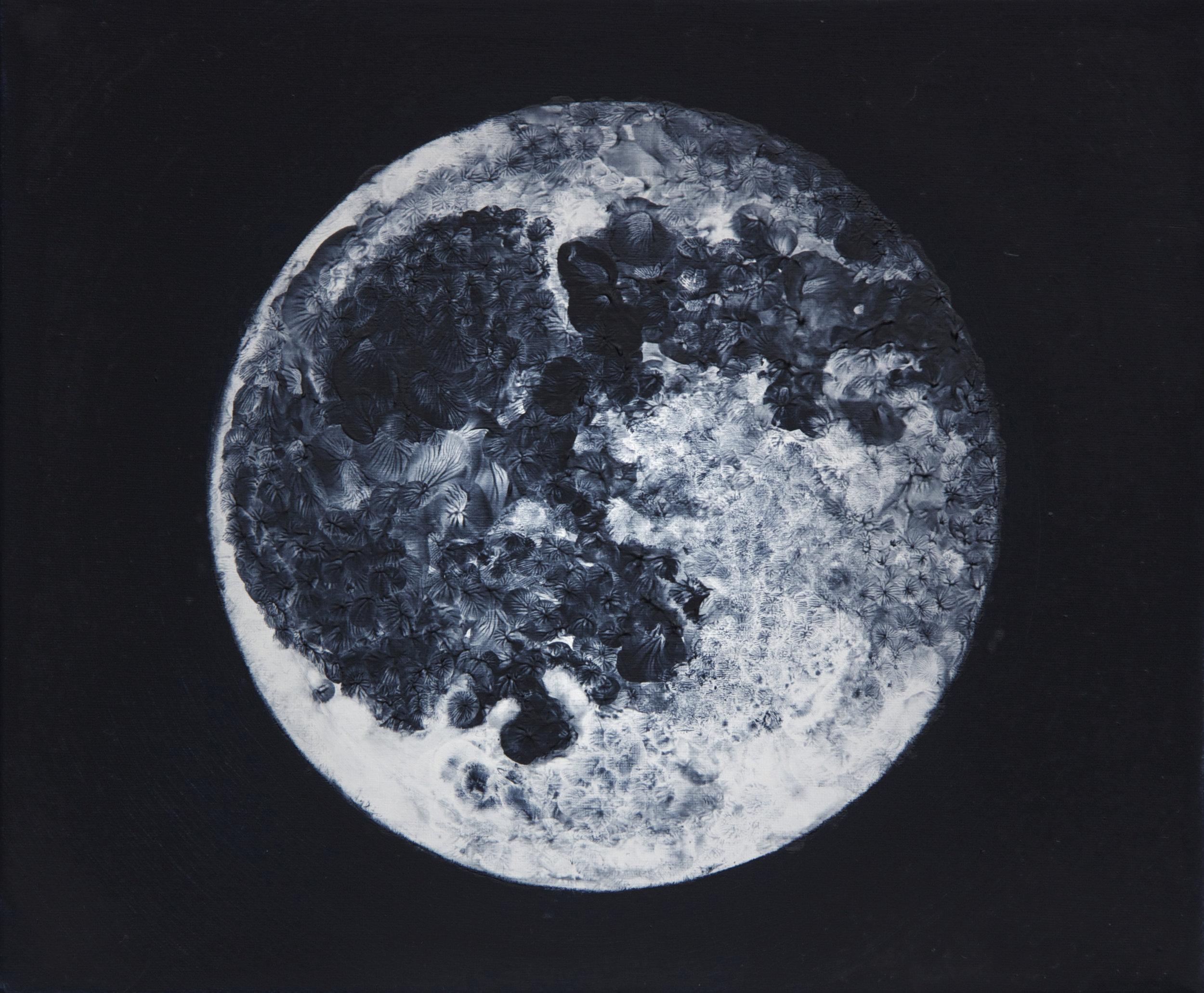 Touching the Moon II,  oil on canvas, fingerprints,   30x25  cm, 2015