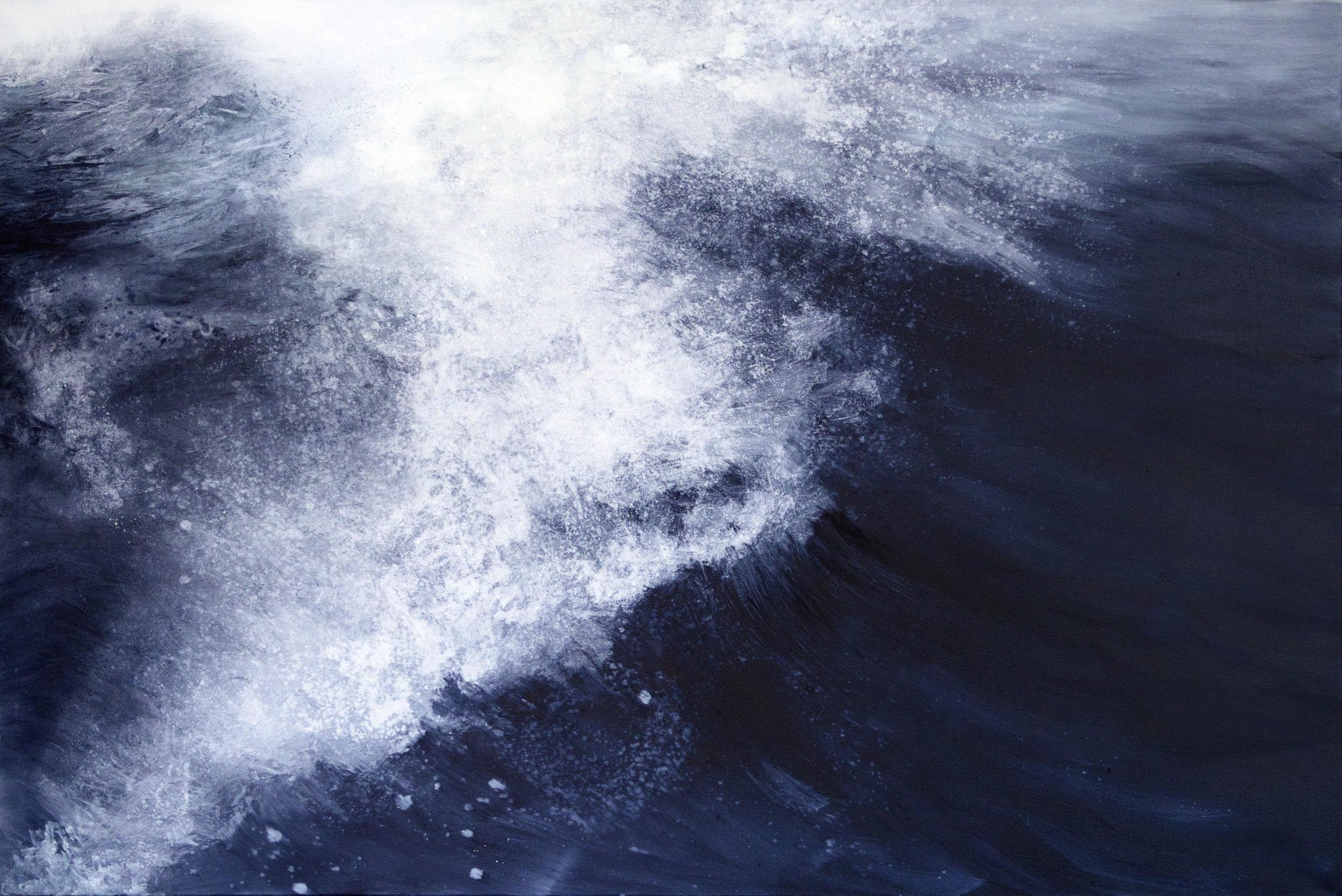 Blue Black. Wave, oil on canvas, 180x120cm, 2015