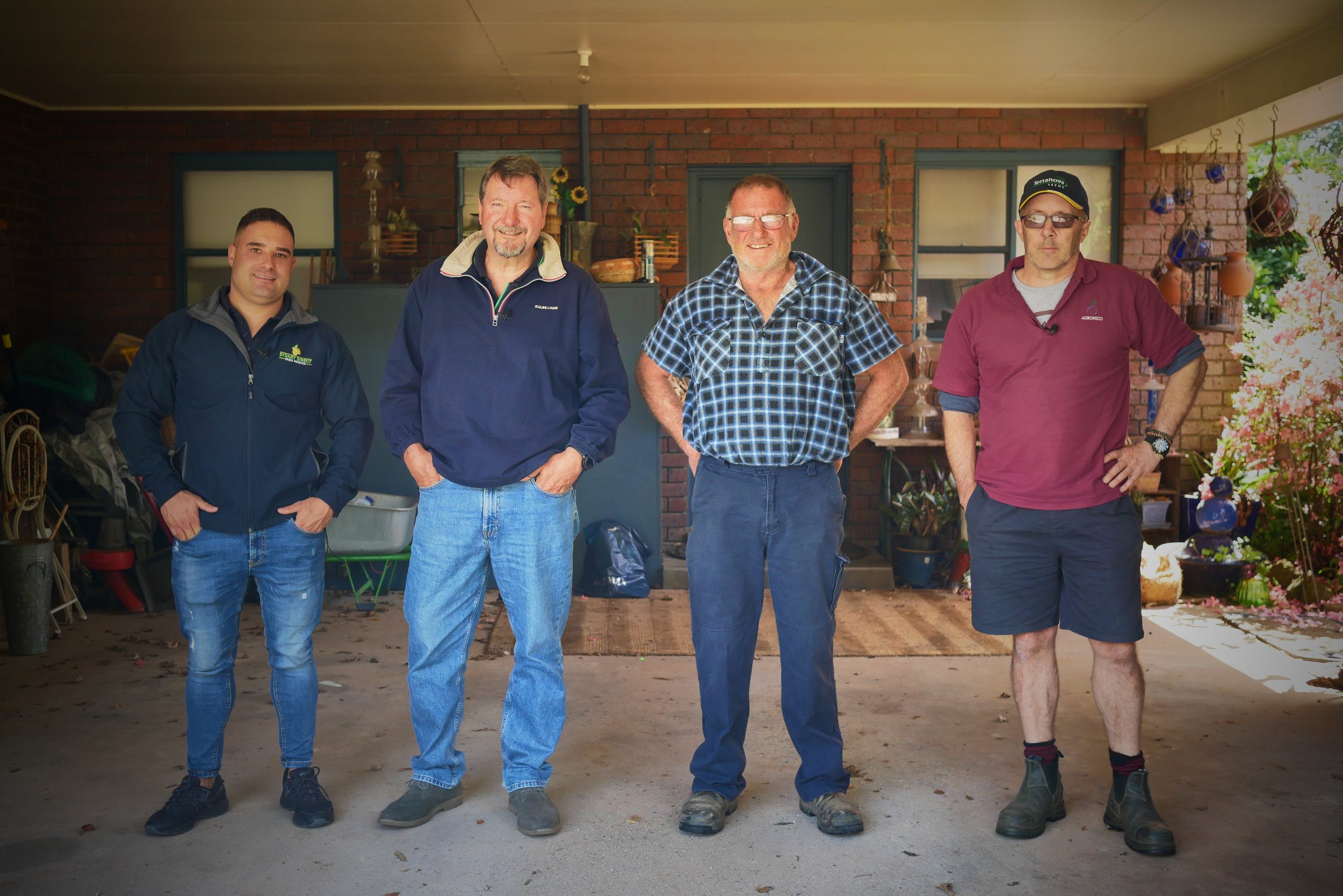 LEFT TO RIGHT. WHOLESALER, AGENT, FARMER AND AGRONOMIST.
