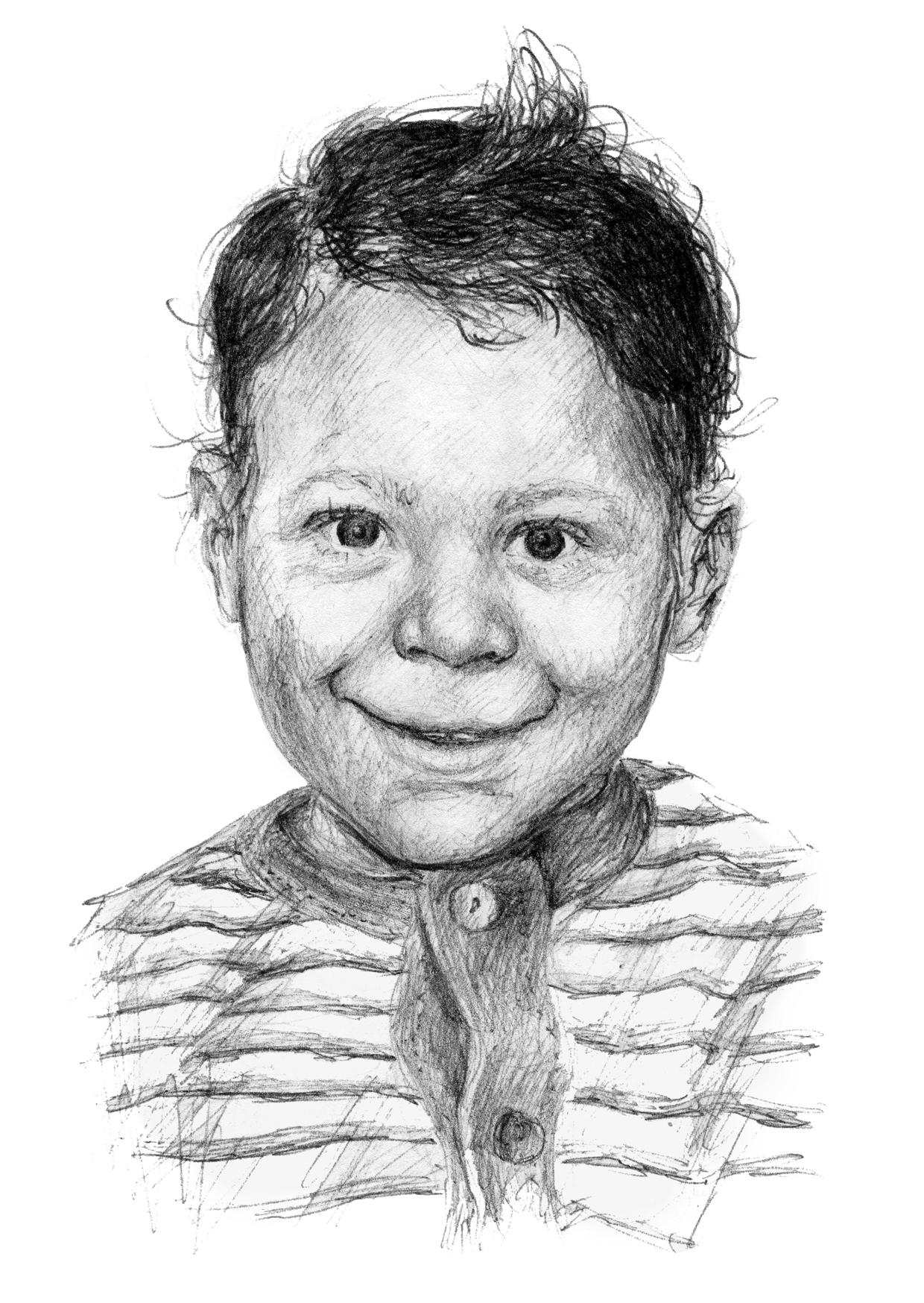 ink portrait toddler