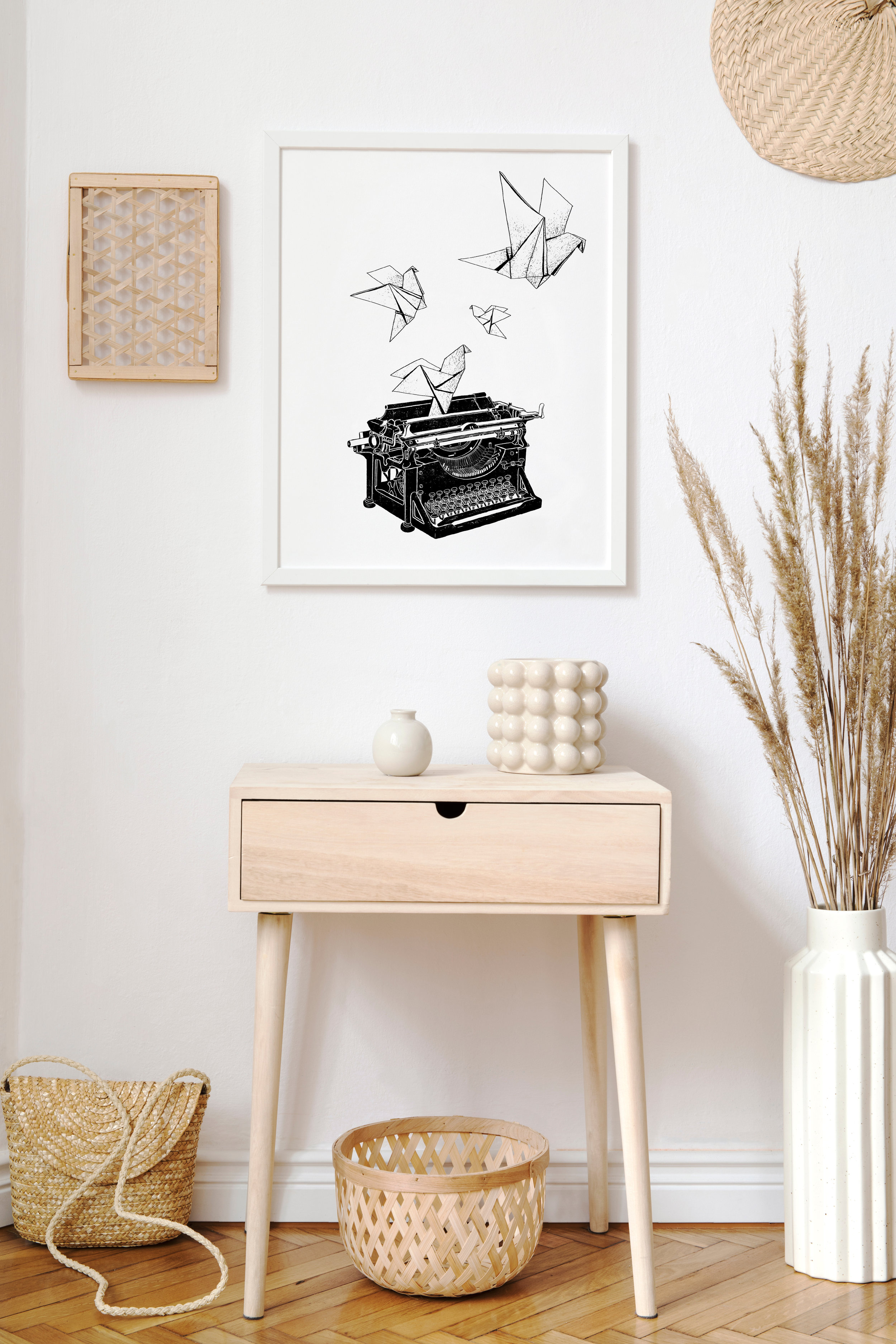 typewriter framed