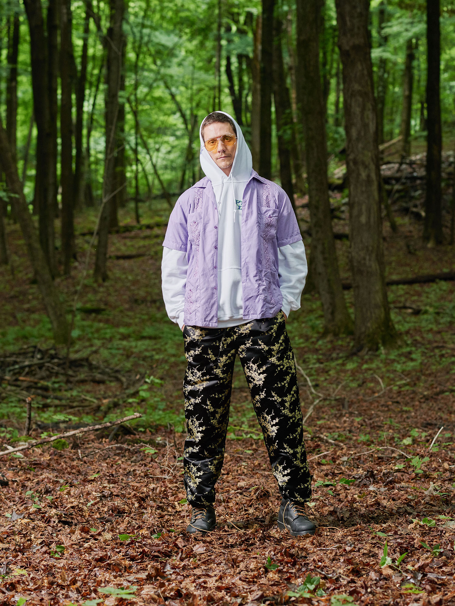Look #9: Guayabera Shirt, Zed Hooded Pullover Sweatshirt, Brocade Pant