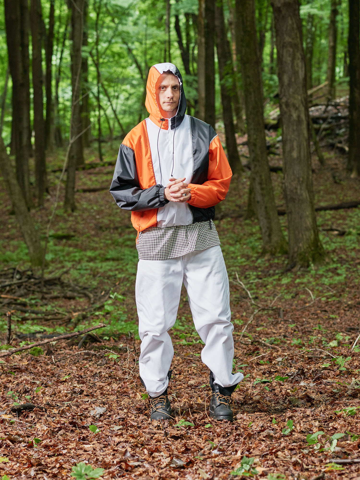 Look #10: Color Blocked Nylon Hooded Windbreaker, Half Zip Shirt, Baggy Fit Jean