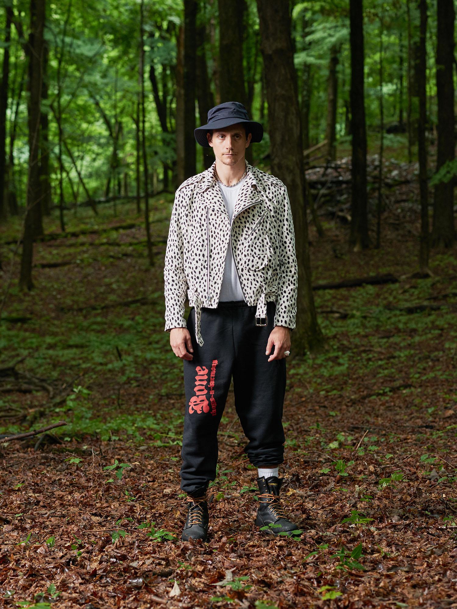 Look #4: Velvet Biker Jacket, Bone Sweatpant
