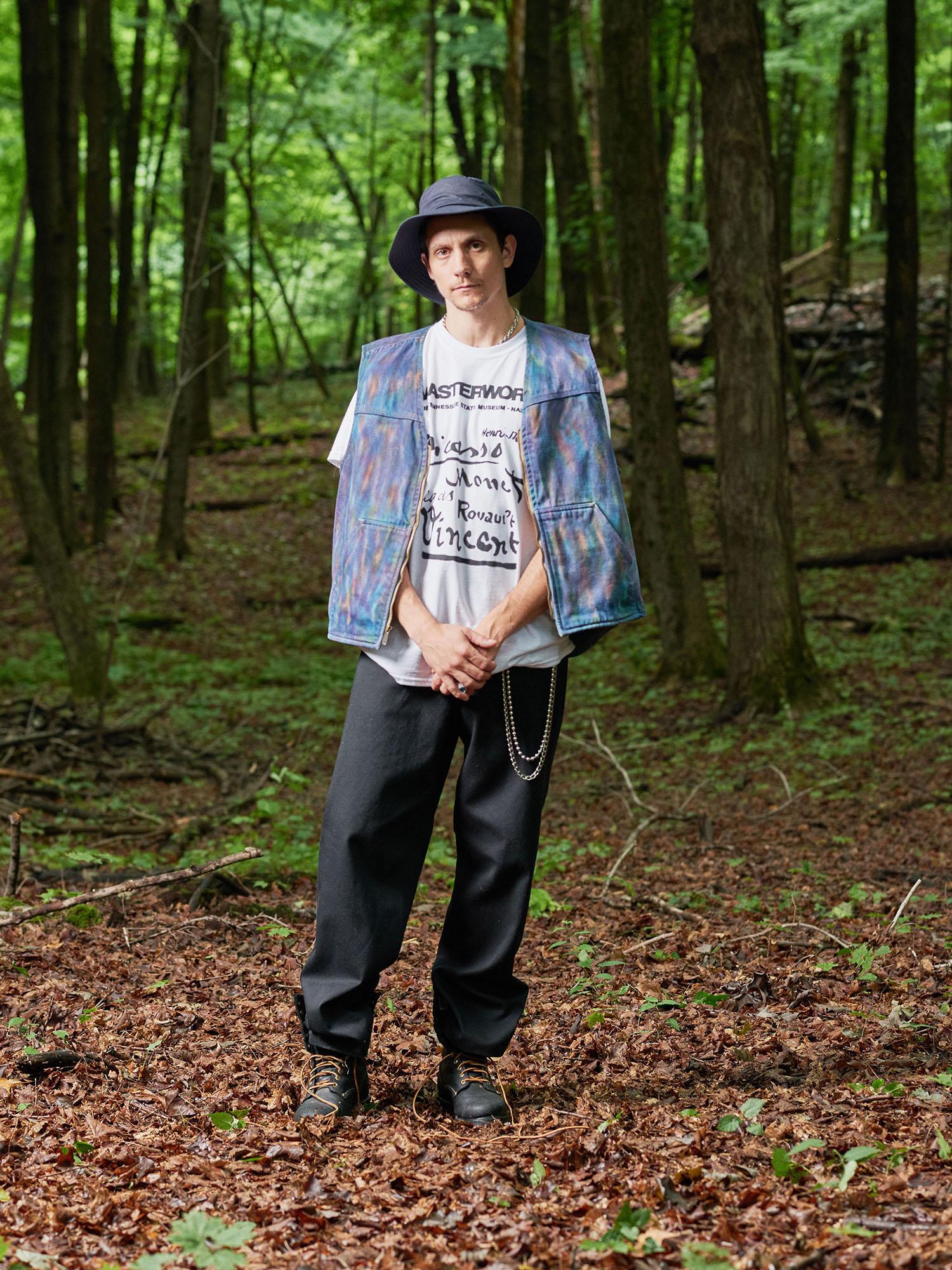 Look #13: Tie Dye Cotton Duck Vest, Masters T-Shirt, Baggy Fit Jean
