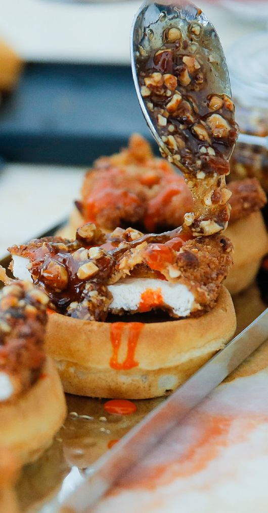 BOBBYSUE'S NUTS Crusted Chicken Tenders, Buttermilk Waffles & Spicy Maple Syrup Recipe