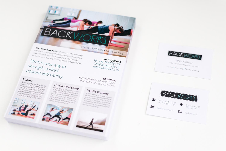 Pilates photos on printed flyers