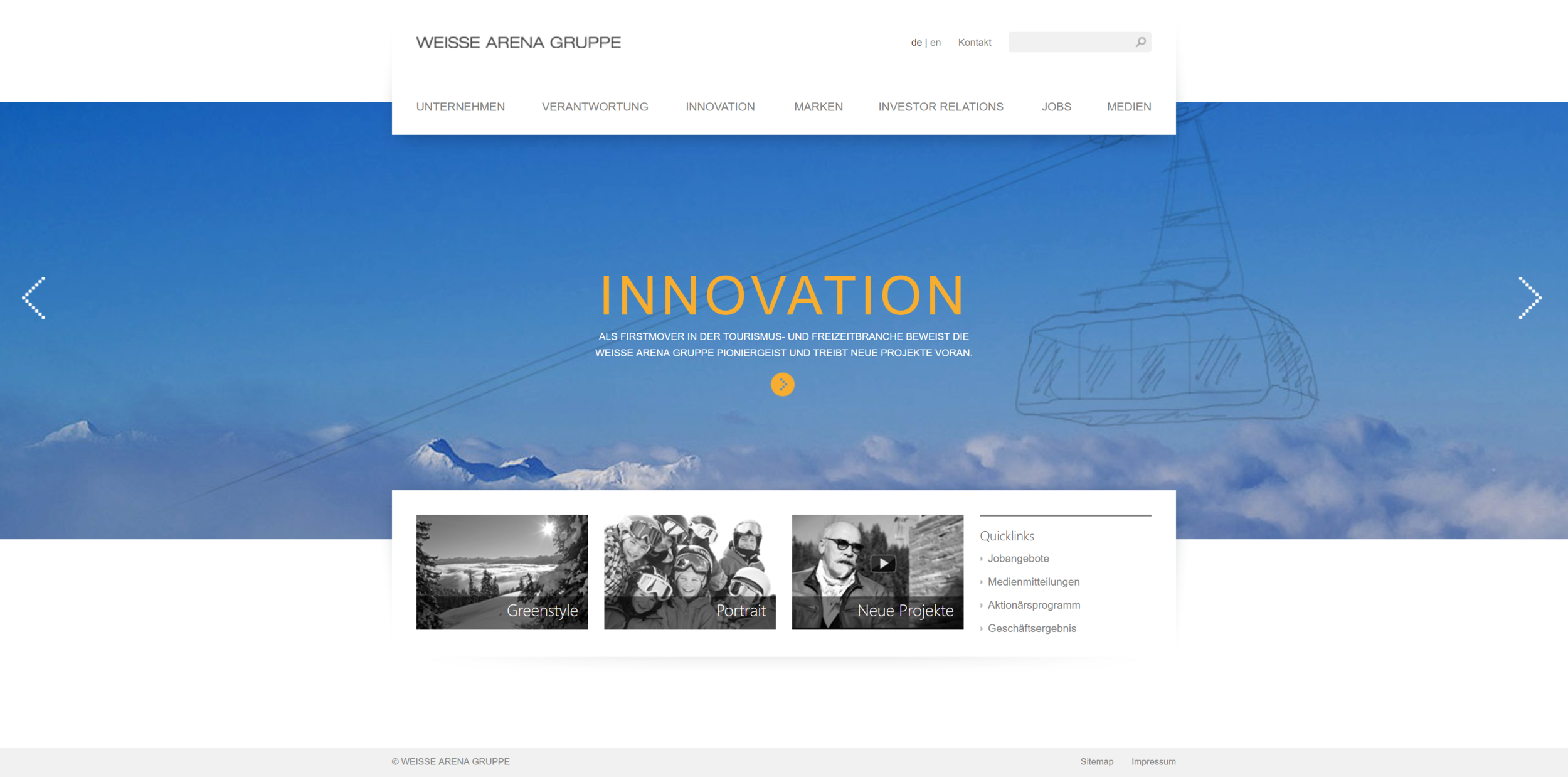 The old Home Page: static, non-responsive, no mobile version, short & outdated page structure