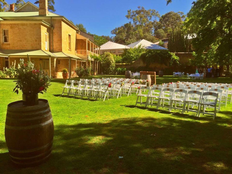 Wedding ceremony Glen Ewin Estate Pulp Shed lawns