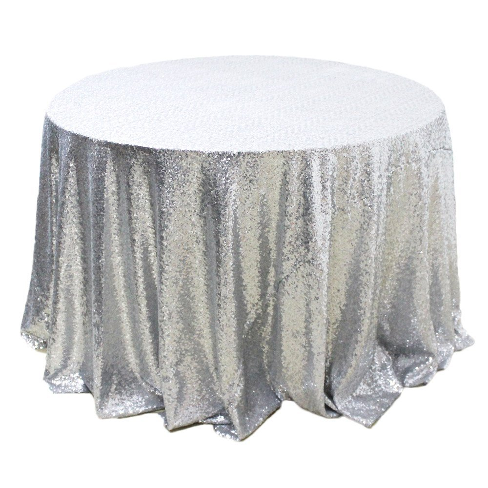 Silver Sequin Round Linen