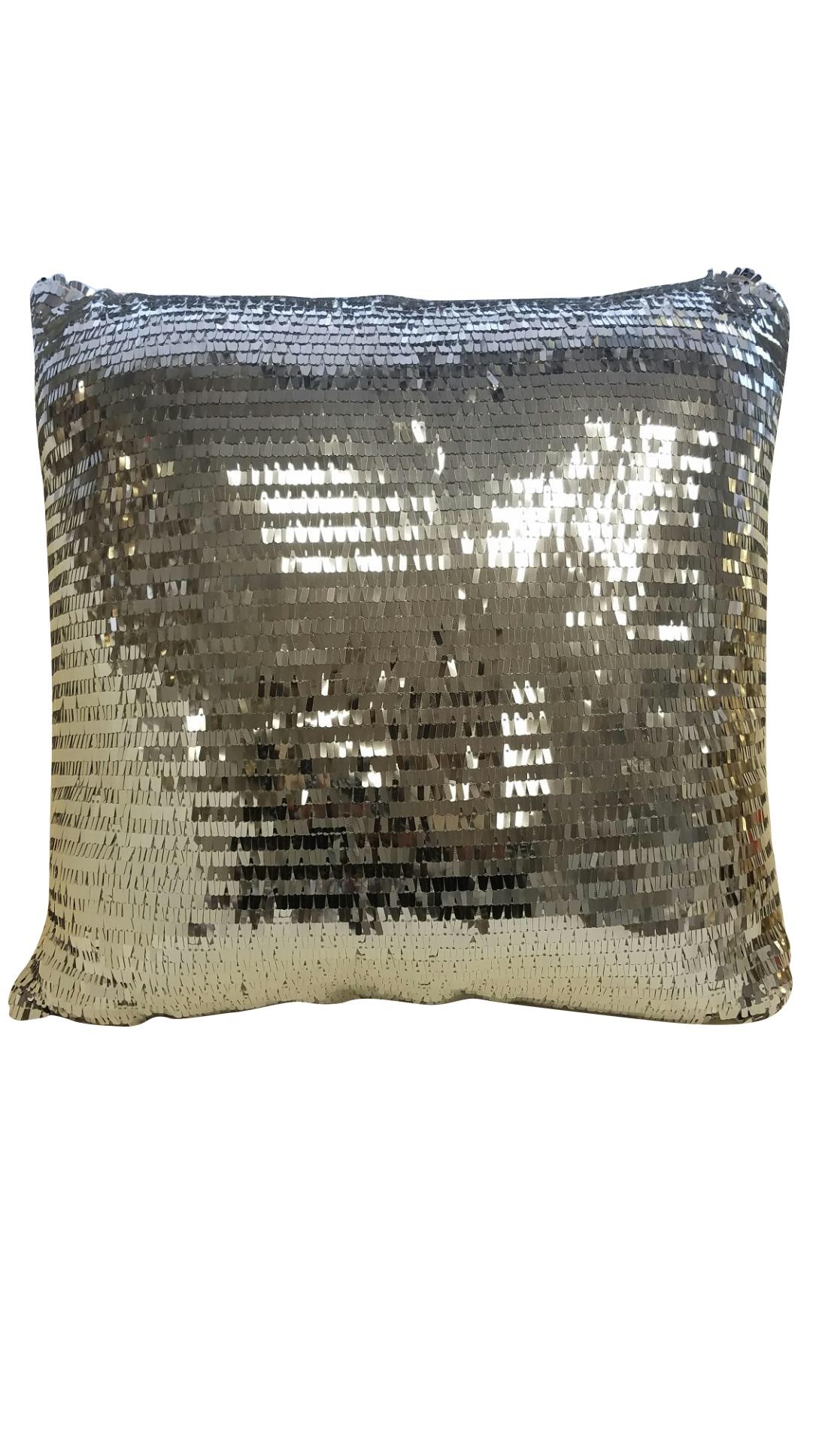 Silver Sequin Throw Pillow