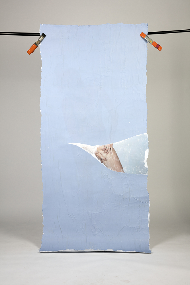 Excavation I (reverse), Fall 2017, Gel Medium Photo Transfer, 40in x 90in
