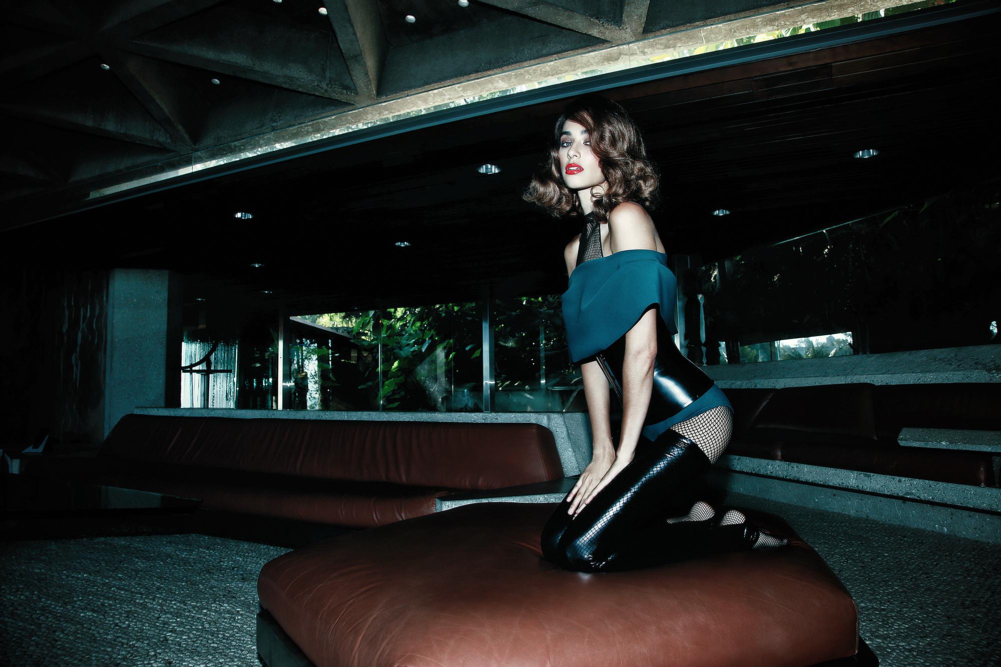 Bodysuit  GRETA CONSTANTINE . Stockings and corset  HOUSE OF ETIQUETTE . Bodystocking  TRASHY LINGERIE .