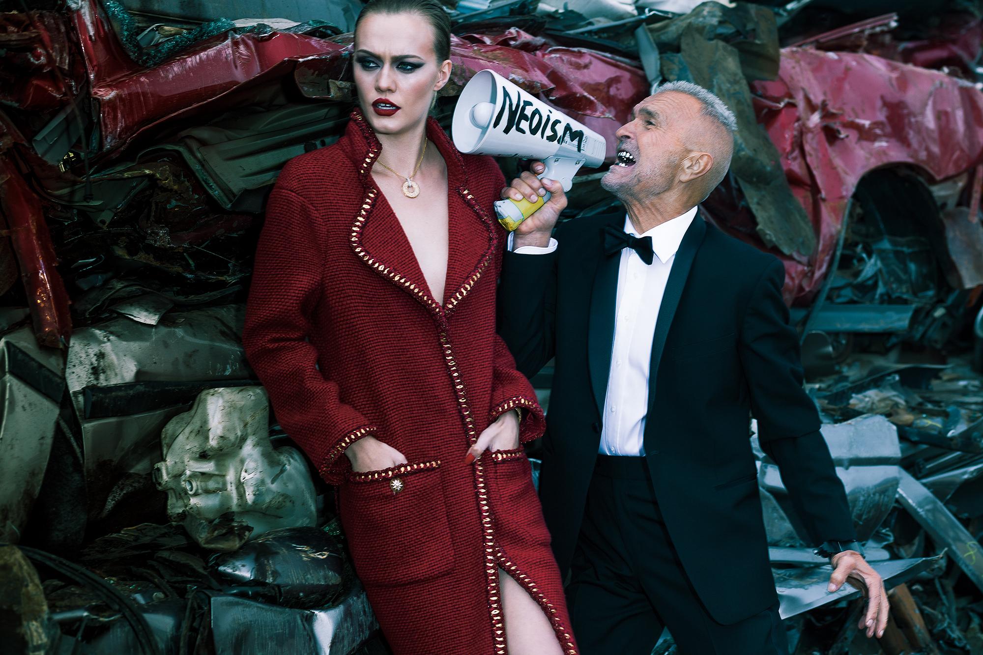 On Katrina: Necklace BIRKS. Coat CHANEL. On Monty: Tuxedo WAXMAN.