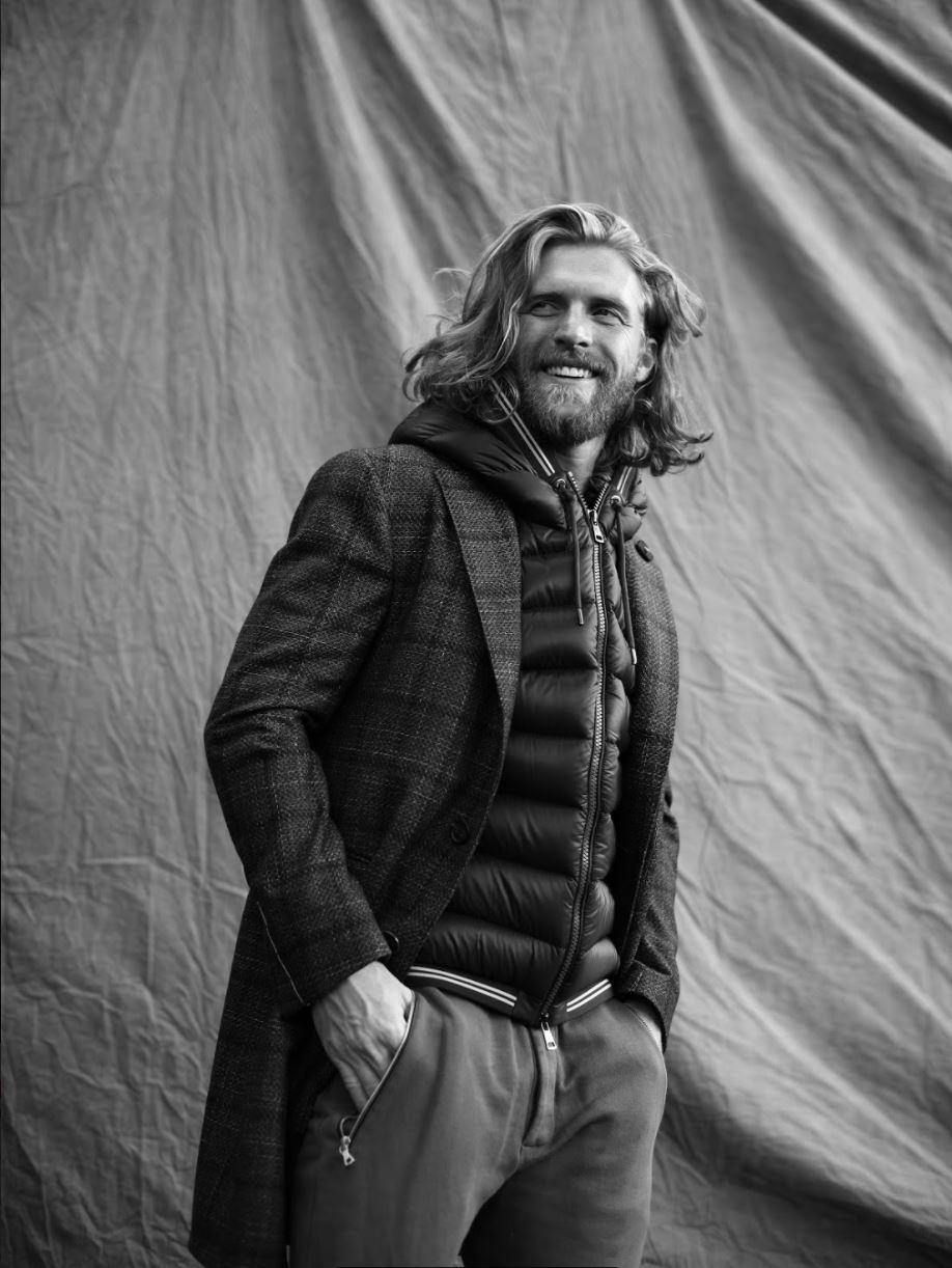 Coat LARDINI at OGLYVI. Vest MONCLAIR at HARRY ROSEN. Shirt MARTINIQUE. Pants REPRESENT at SIMONS.