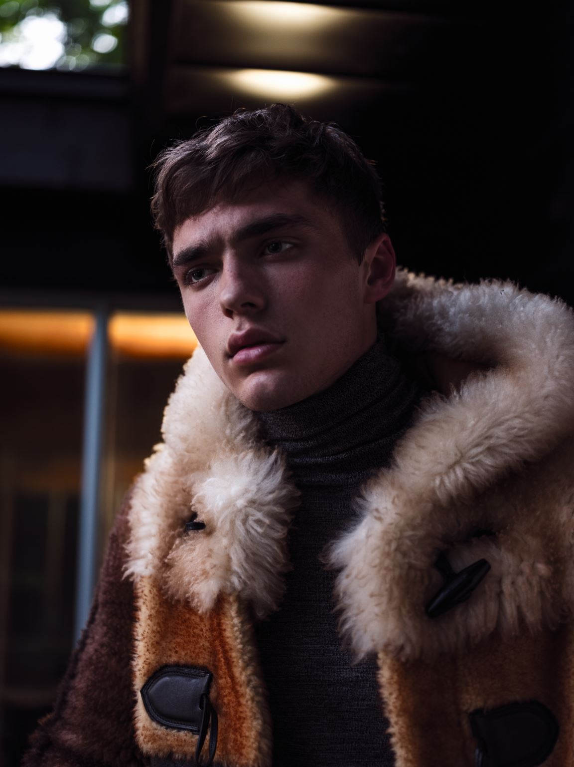 Coat COACH ($3,250). Turtleneck BOSS ($205). Photographer Andrew Soule. Stylist Mark John Tripp. Model Mitchell at Ciotti. Grooming: Richard J using MAC COSMETICS, DERMALOGICA SKIN CARE, and KEVIN MURPHY HAIR CARE. Assistant photographers Mori Arany and Chung Ling Lo. Location Franke House.
