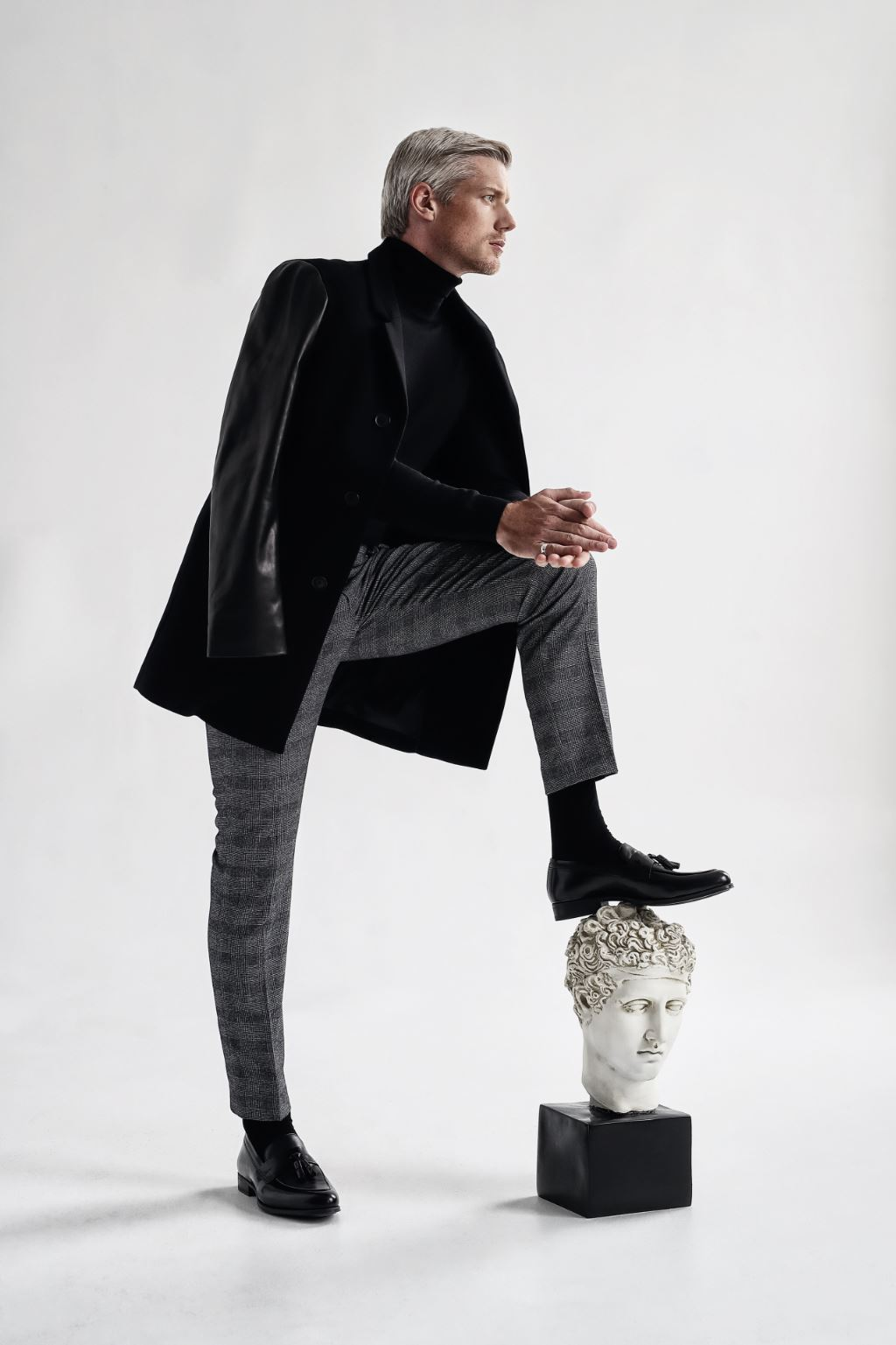 Jacket RUDSAK ($595). Pants TIGER OF SWEDEN ($299). Turtleneck LEMAIRE ($455 USD). Socks BARNEY'S NYC ($44 USD).