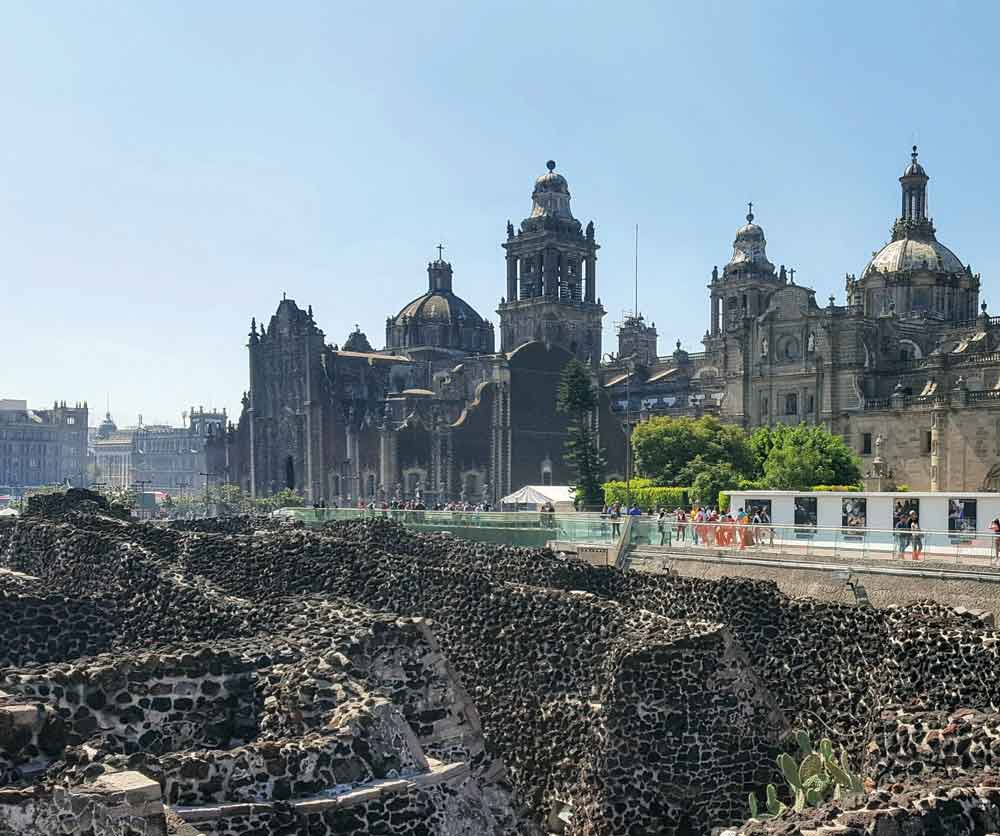 Seek out the city's spirit at Zócalo, the 2nd largest plaza in the world, as seen from the Templo Mayor. © Christine-Elizabeth Laprade.