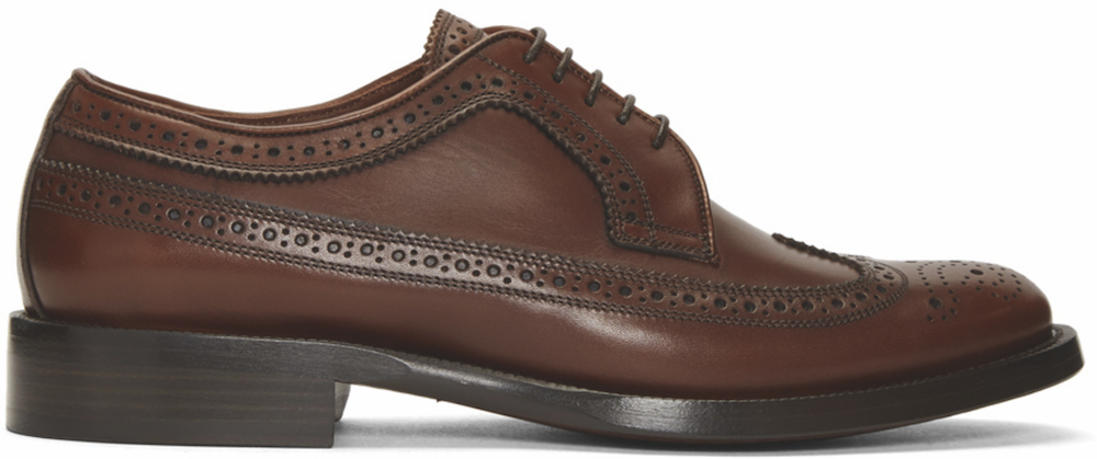 BURBERRY - Brown Aleighton Brogues ($575 USD) at SSENSE