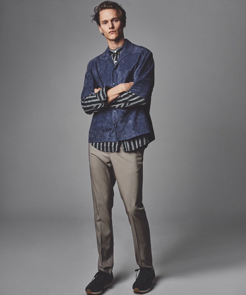 Short-sleeve suede shirt (Price upon request) HUGO BOSS. Striped shirt BILLY REID. Sneakers ($295) HEIRLOOM.