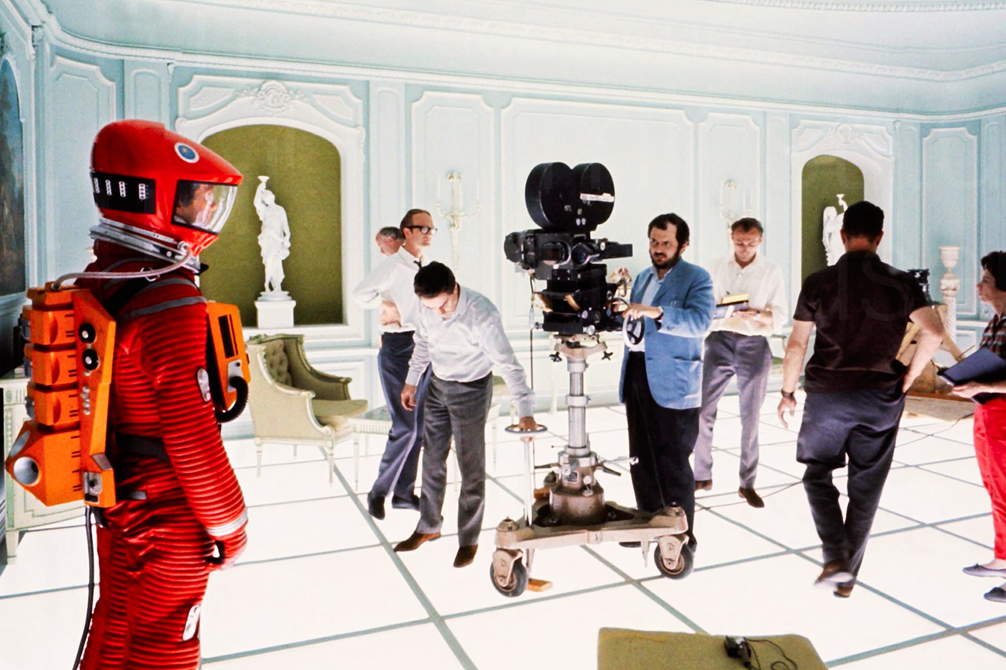 Stanley Kubrick on set of his 2001: A Space Odyssey