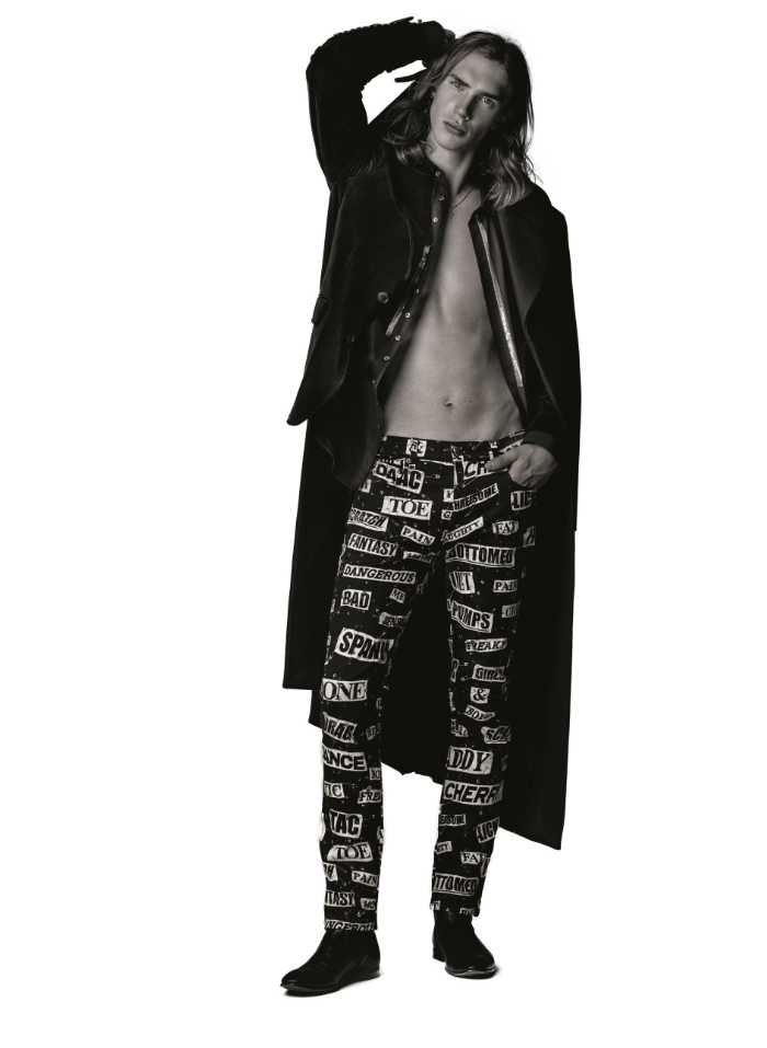 Coat (Price Upon Request) COS. Shirt ($725) DSQUARED2 at SIMONS. Pants ($675) MOSQUINO at SIMONS.