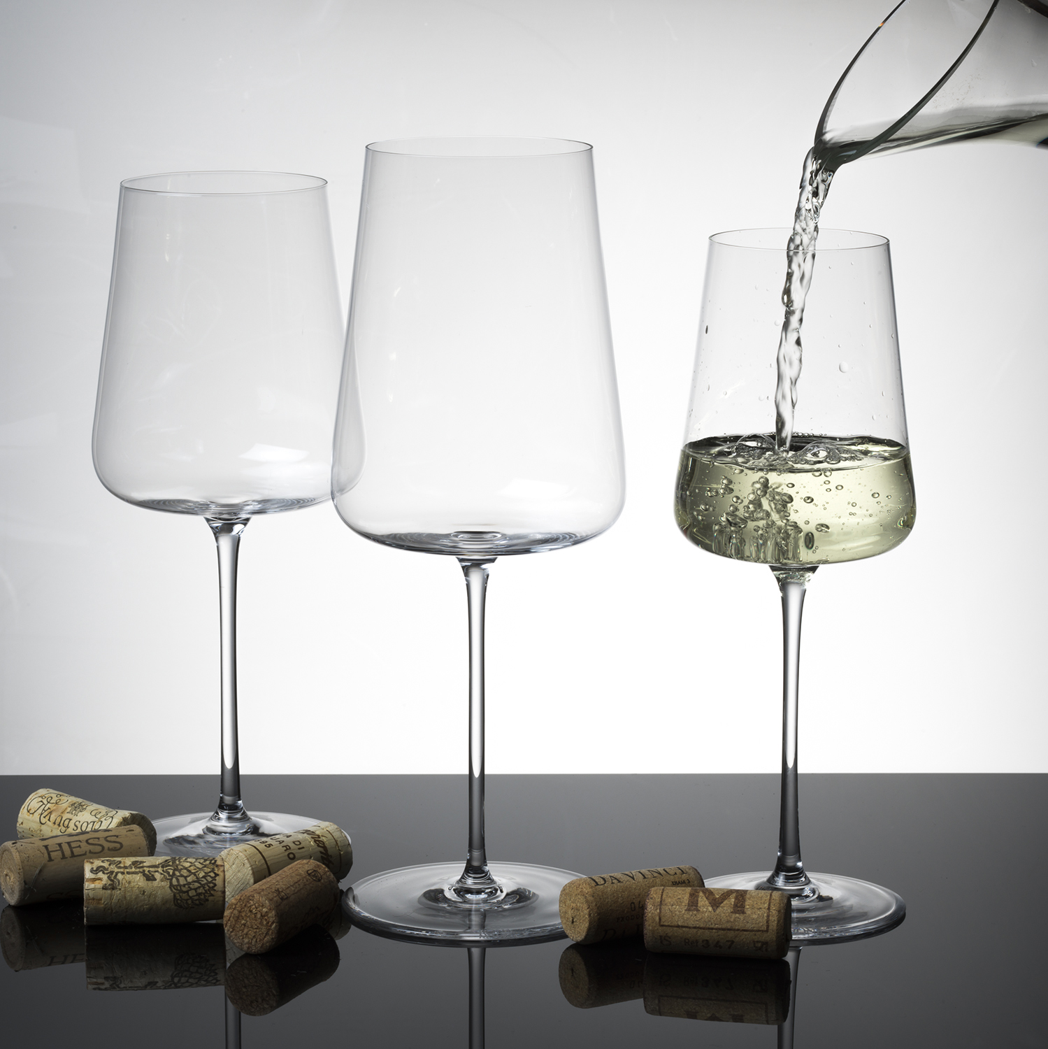 Stemware with Pouring Wine