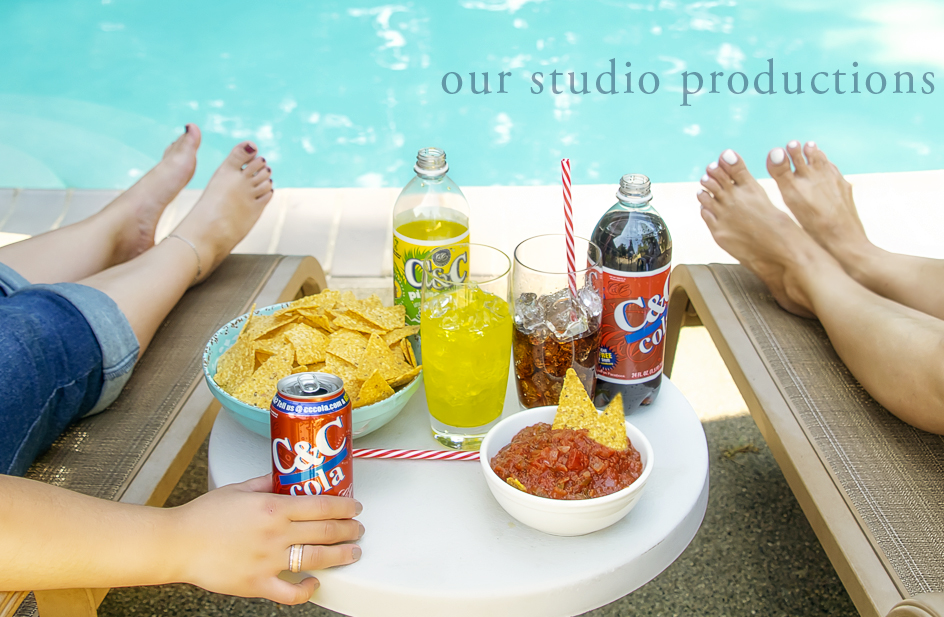 Two girls enjoying a few C & C Cola's. Shot on location, real pool, real models and REAL sodas! Okay, the ice cubes are fake.