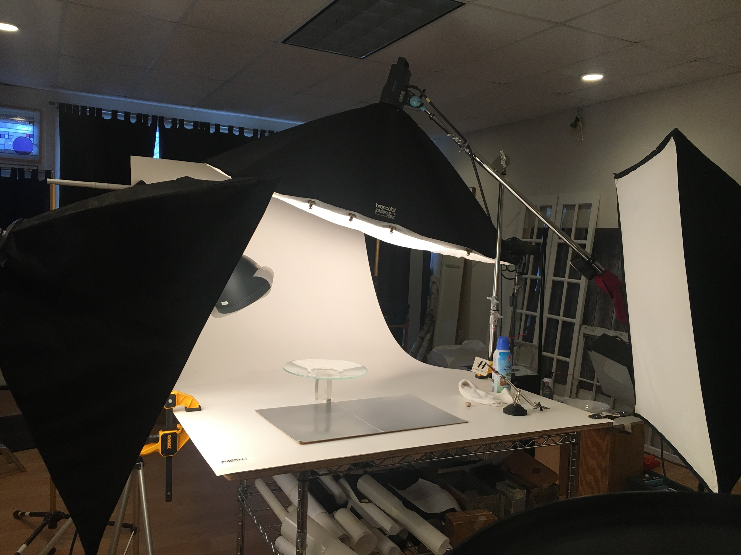Typical professional studio tabletop photo shoot set-up. -