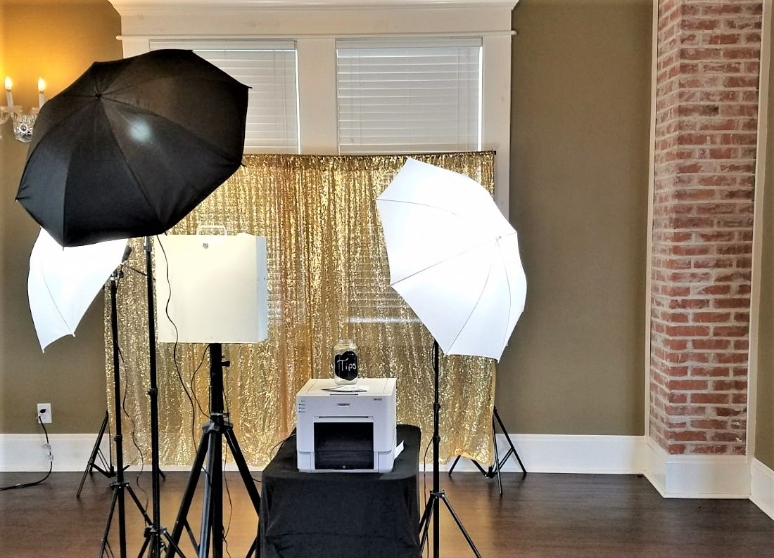 Open Air Photo Booth With Gold Backdrop