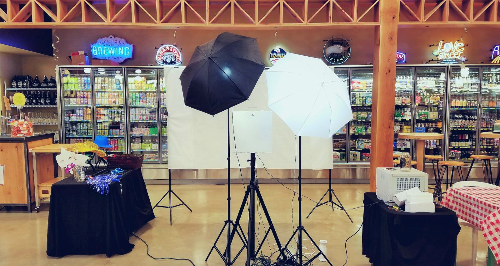 Open Air Photo Booth With White Backdrop