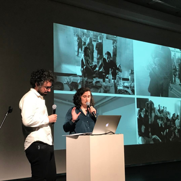 Juan and Vera presenting TEOK at the end of the Swiss Cultural Challenge