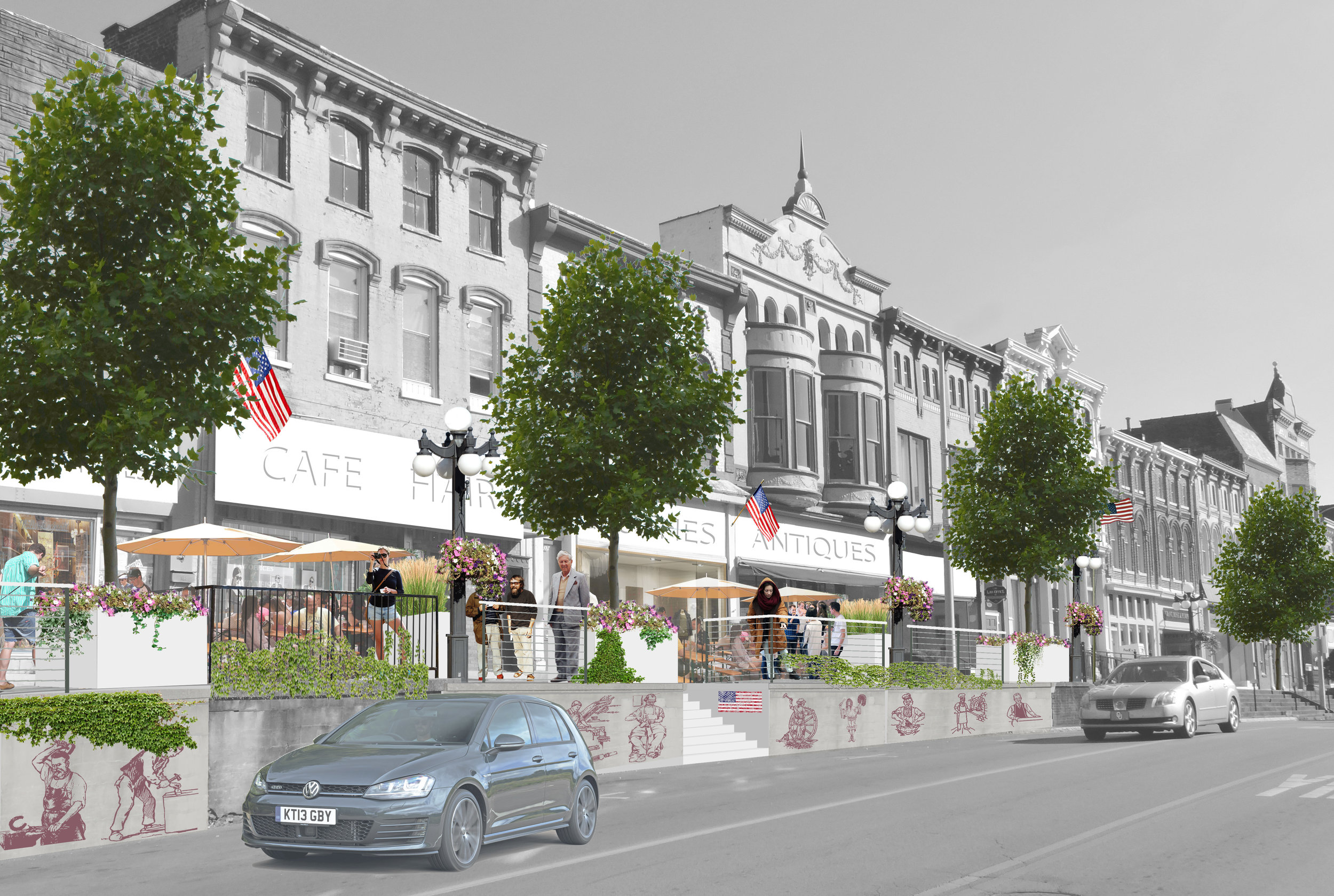Rendering of the High Side of Main Street re-envisioned as a gathering place, rather than a mere sidewalk.