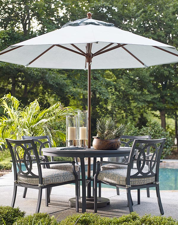 Enter to win! - The winner will receive an Outdoor Dining Set from Lane Venture Furniture and an Umbrella from Treasure Garden Umbrellas at a value of $4,775.00.