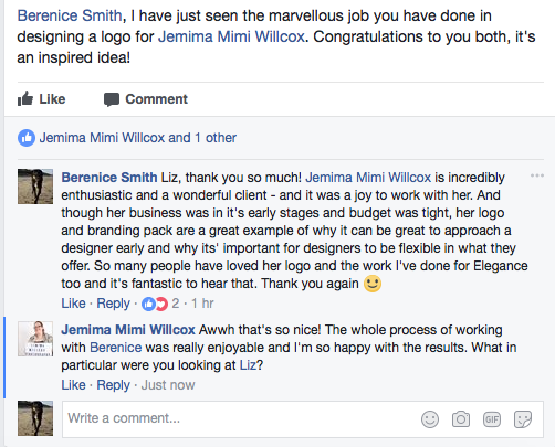 Facebook feedback is always lovely to read!