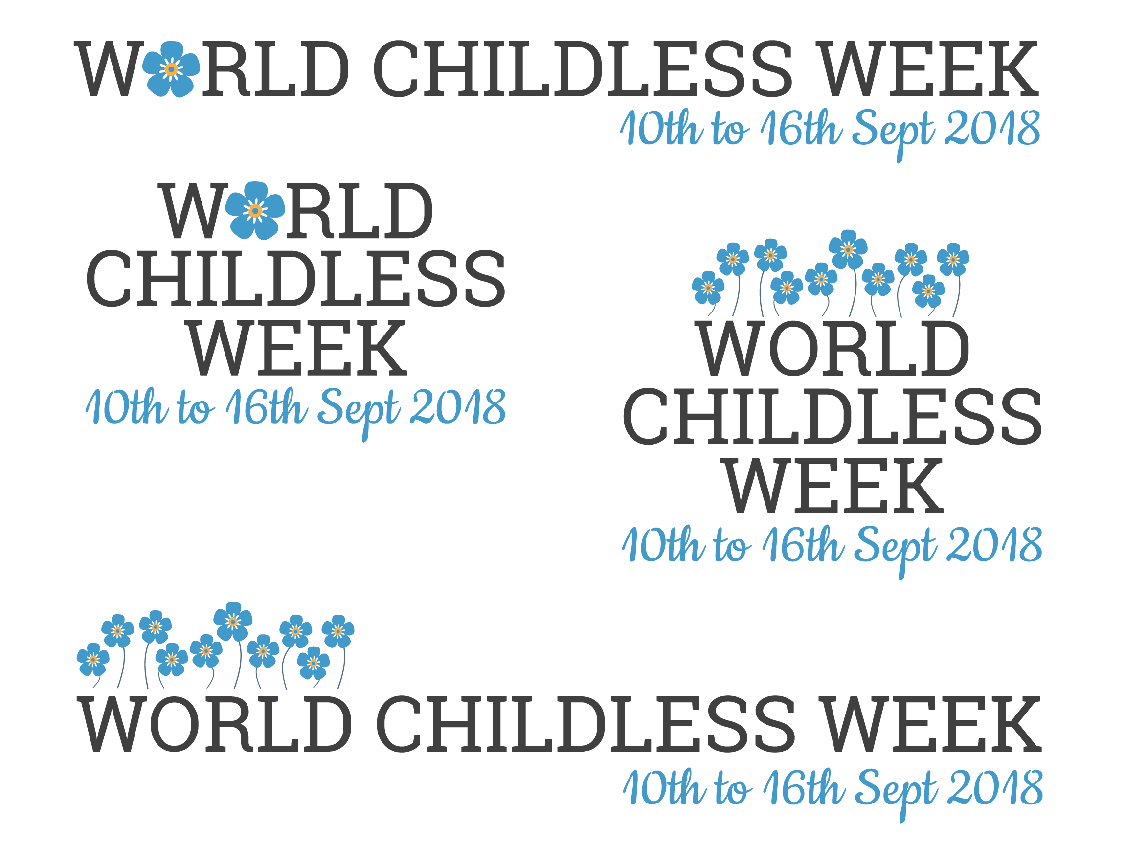 The full set of logos with mono text, developed by Hello Lovely for Stephanie Phillips, World Childless Week, December 2018