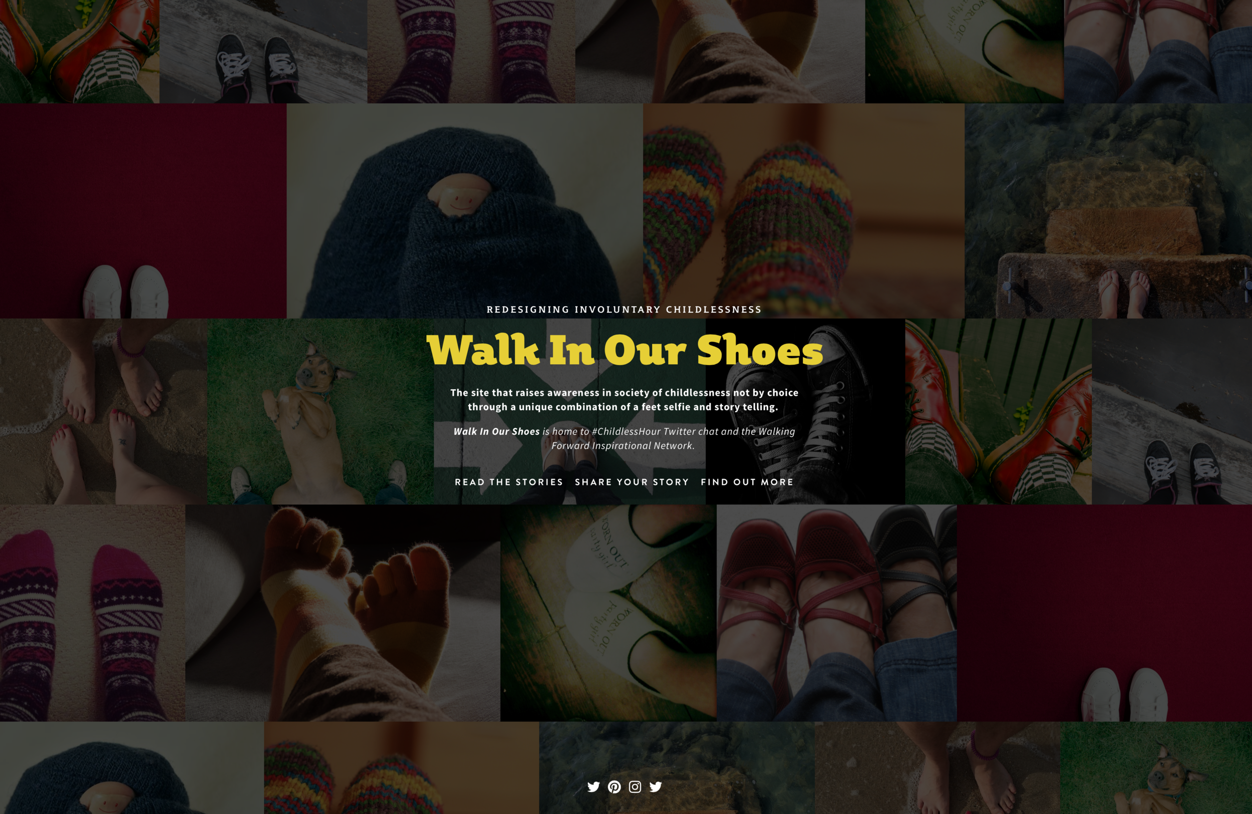 The landing page for Walk In Our Shoes, introduced during a design thinking review