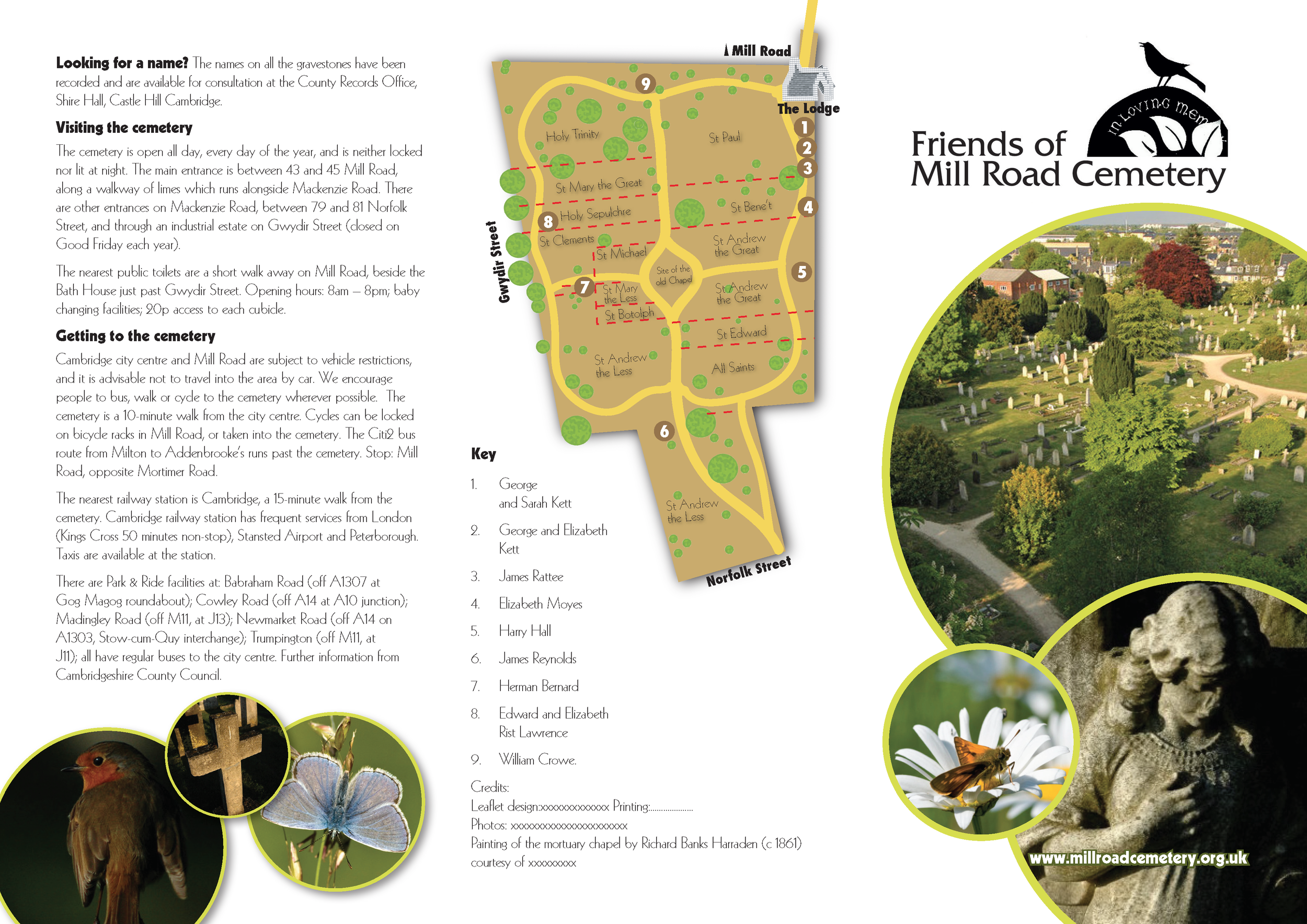 Illustration and leaflet design for Mill Road Cemetery, Cambridge