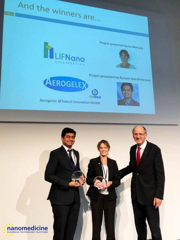 Dr. Su. Metcalfe (middle), picking up the Most Promising Nanomedicine Project at the International Nano Medicine Awards in Berlin on Tuesday, November 7.