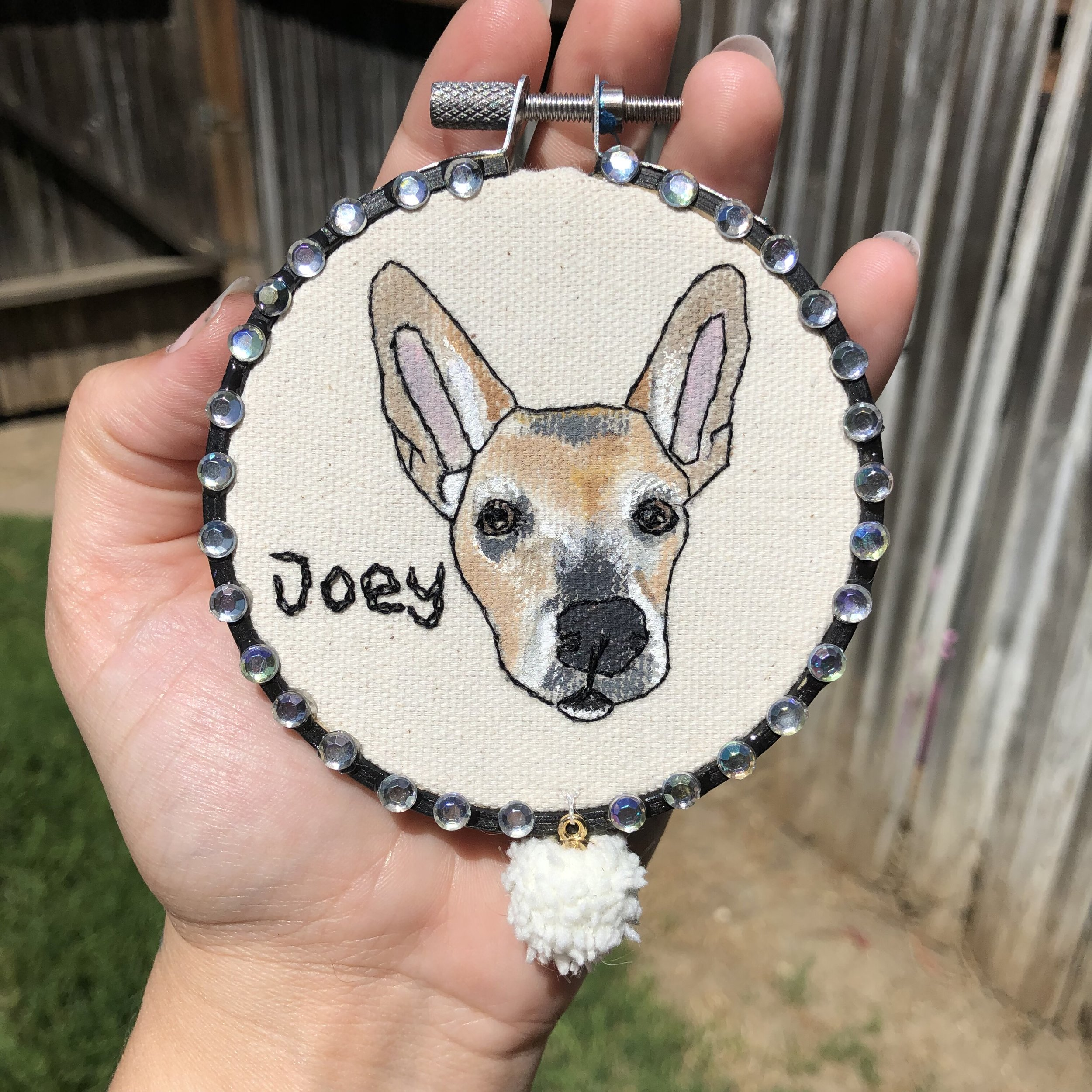 - I'm so happy with the way this piece turned out! Working with you was so easy and fun, and I loved watching my sweet pup come to life in this hoop. I love your use of mixed media!! It's so unique and definitely makes every piece one of a kind. I am so lucky to own your art, and I will definitely be purchasing from you in the future. ❤