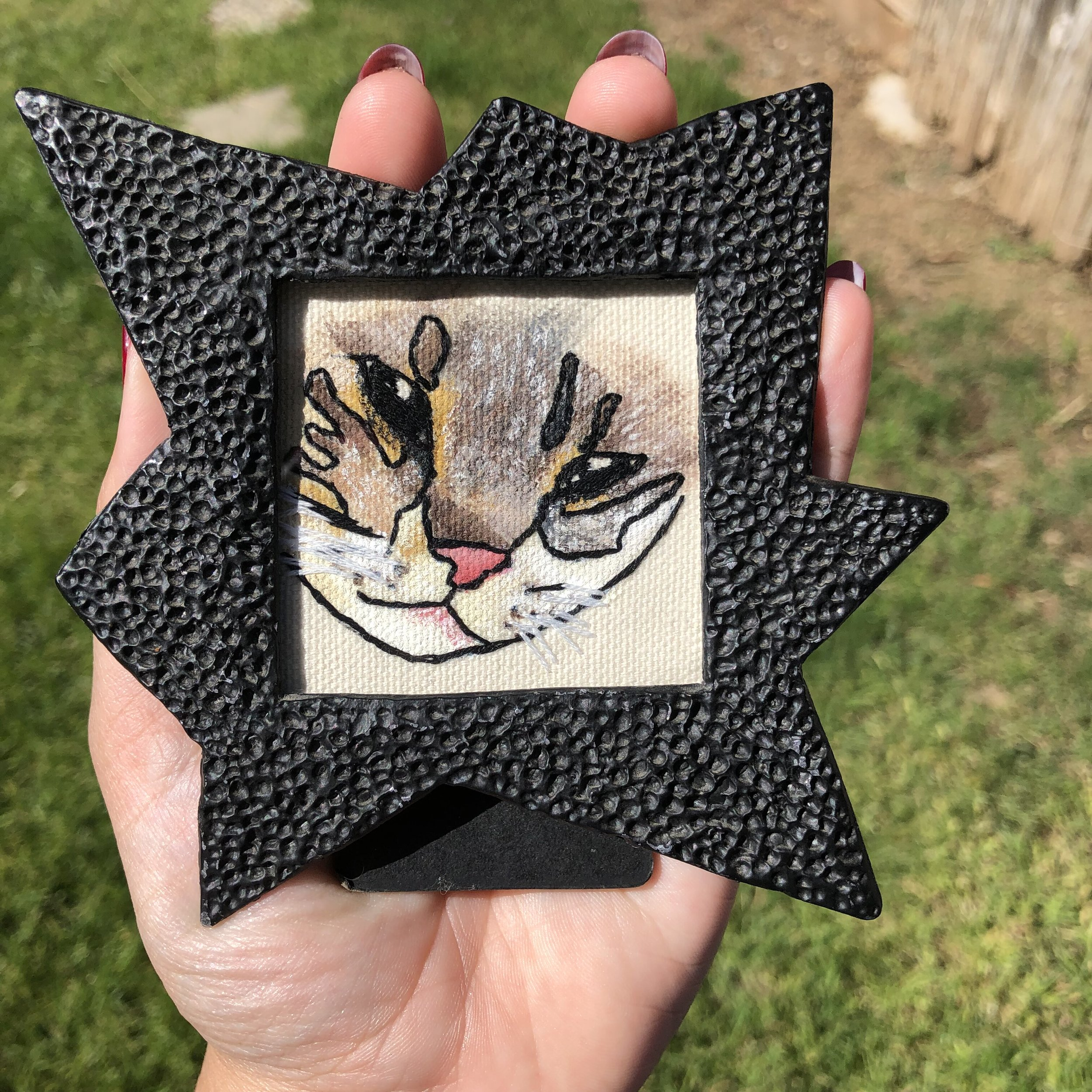 - I love the portrait of my kitty done by @existentialembroidery, I love the frame, craftsmanship, attention to detail and speediness with which this was done. You should definitely commission something from this talented artist!